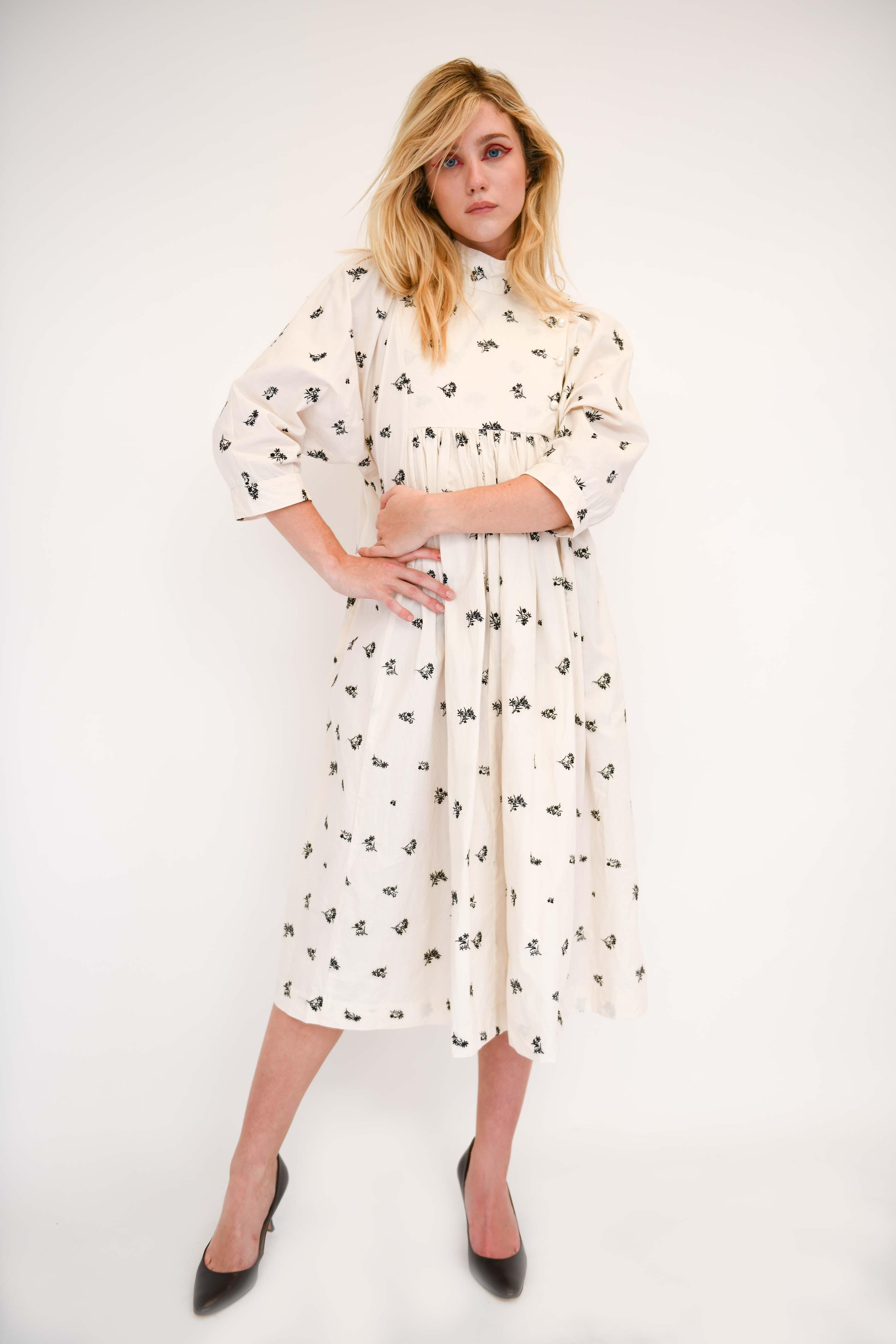 Smock Dress in Eggshell Embroidered Cotton