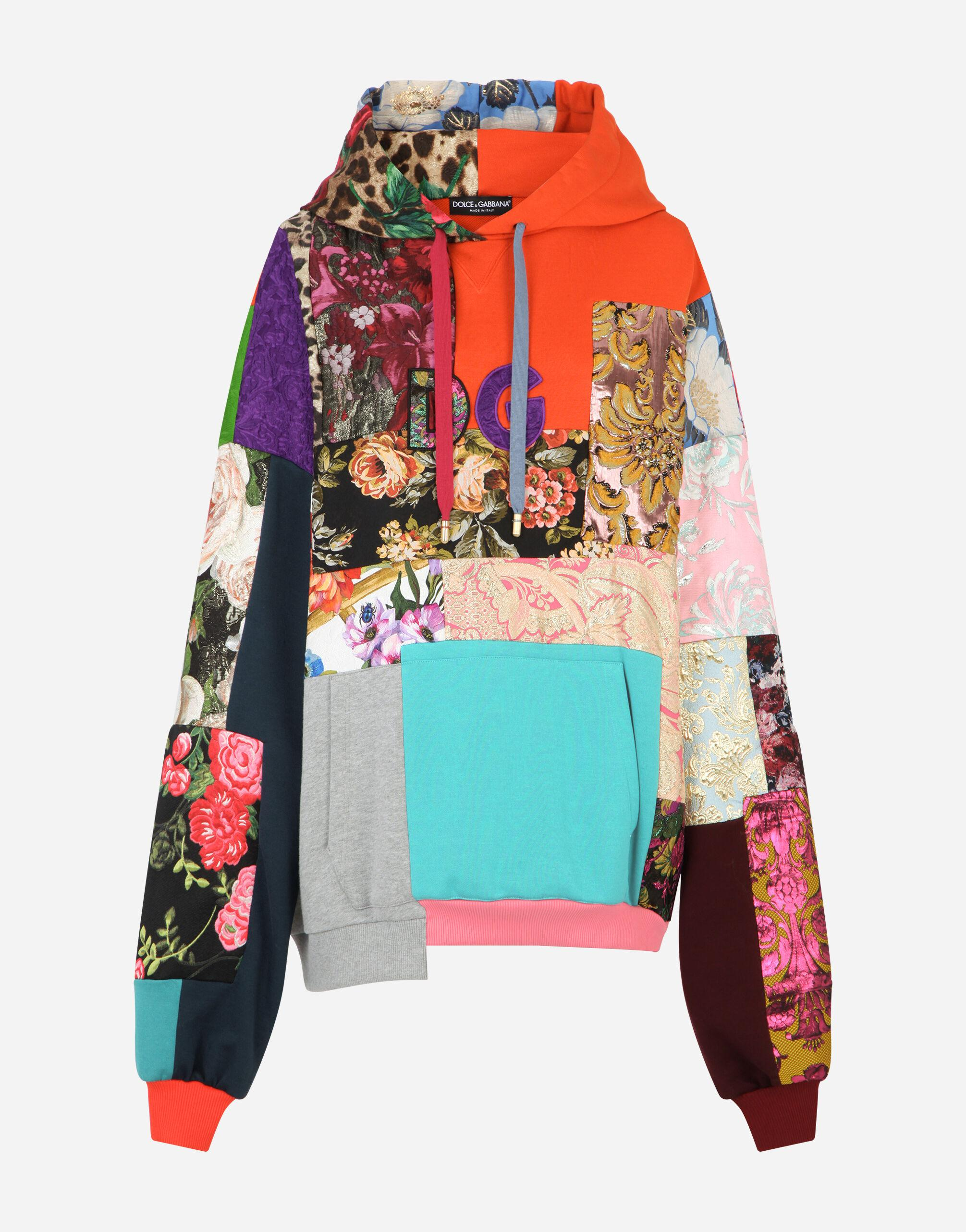 Patchwork jersey hoodie with DG embroidery 5