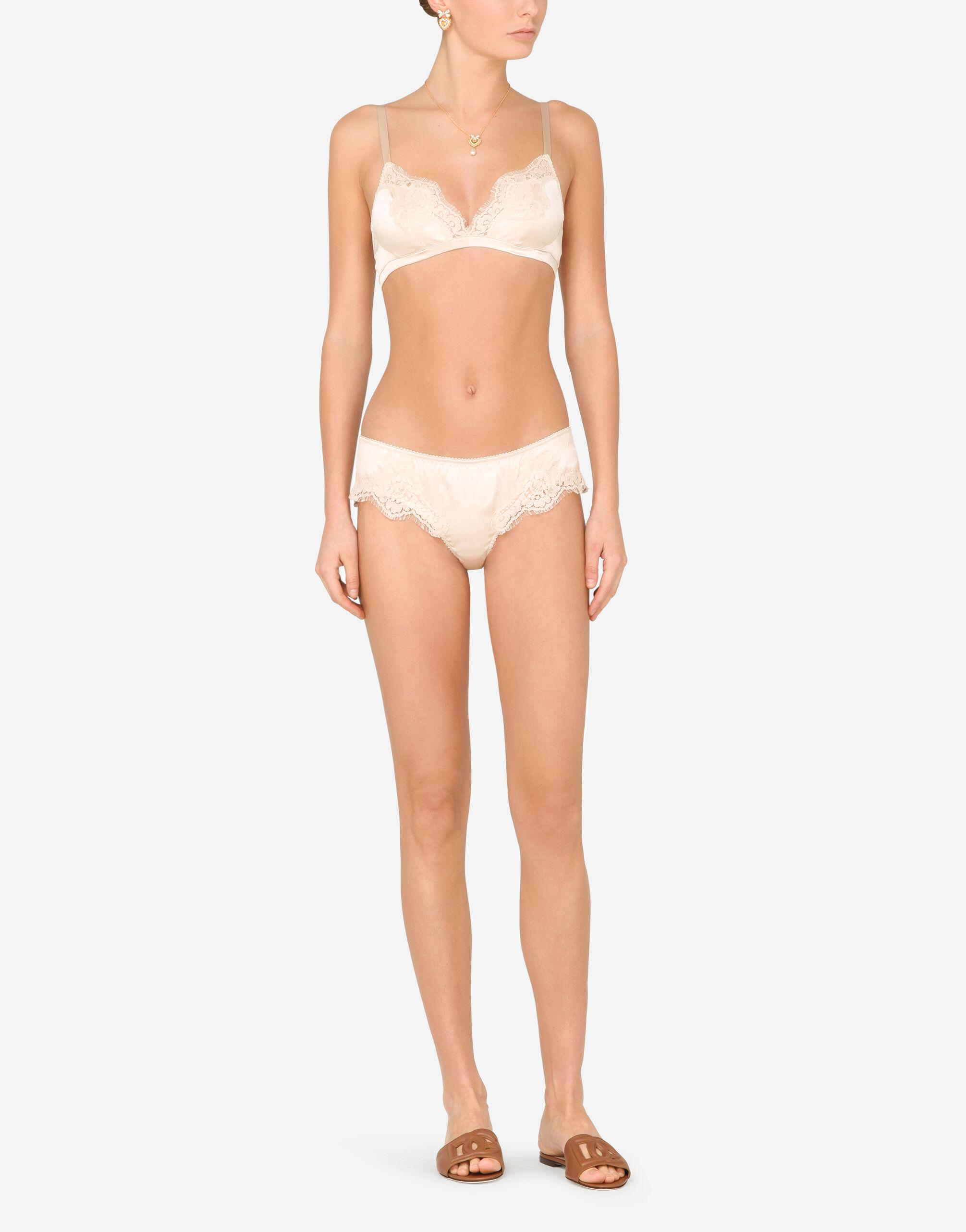 Satin briefs with lace detailing