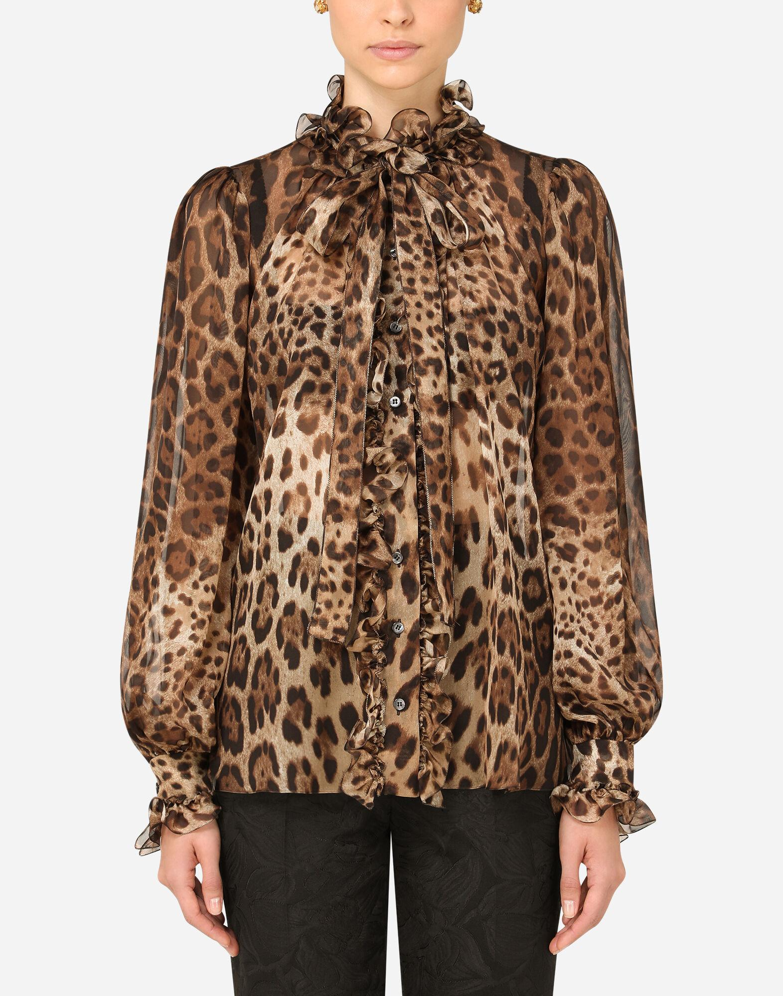 Leopard-print chiffon shirt with ruches and pussy-bow