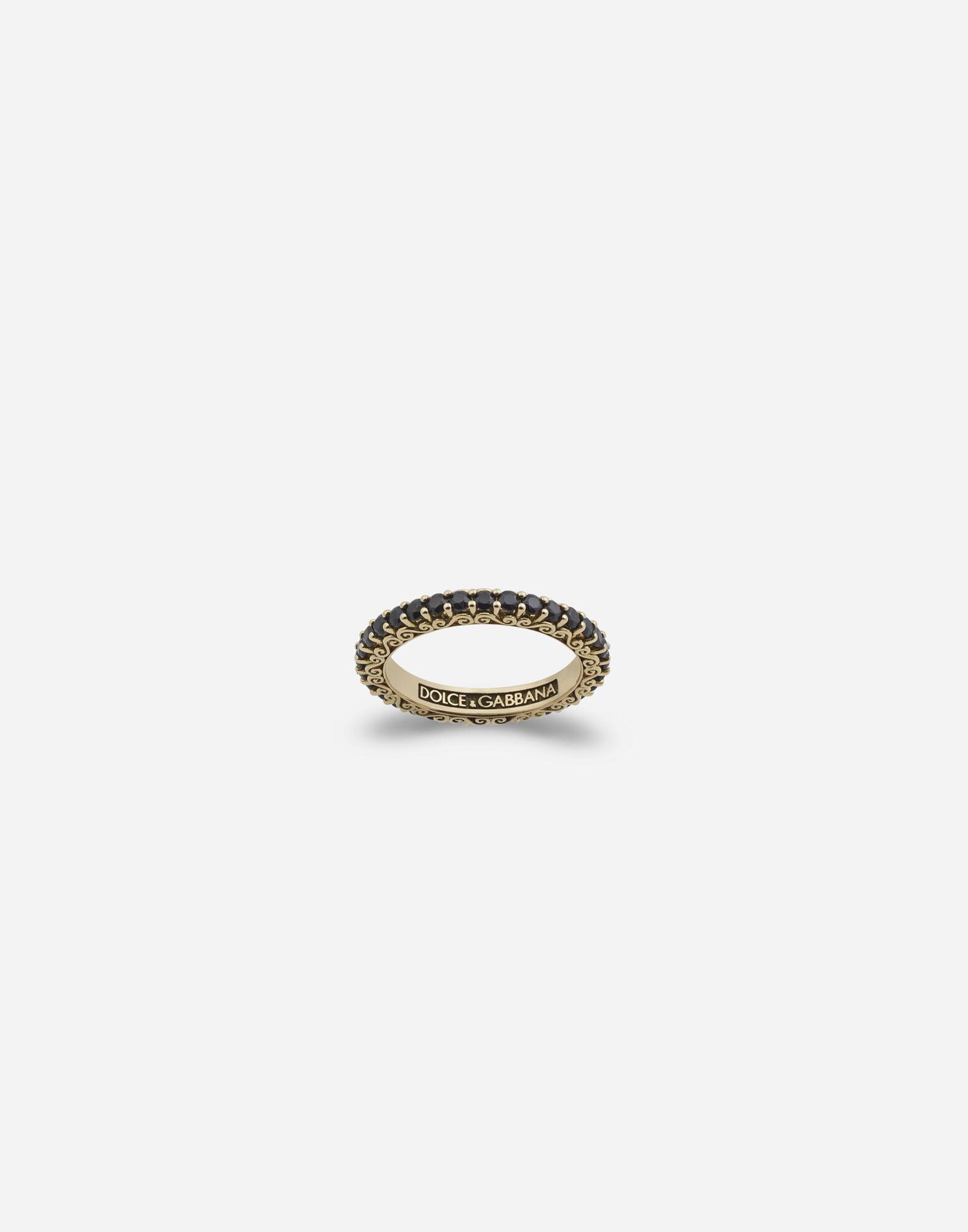 Sicily ring in yellow gold and black sapphires