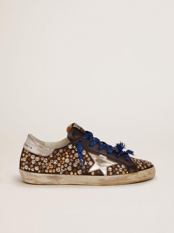 Super-Star sneakers in black leather with hammered studs and silver laminated leather star
