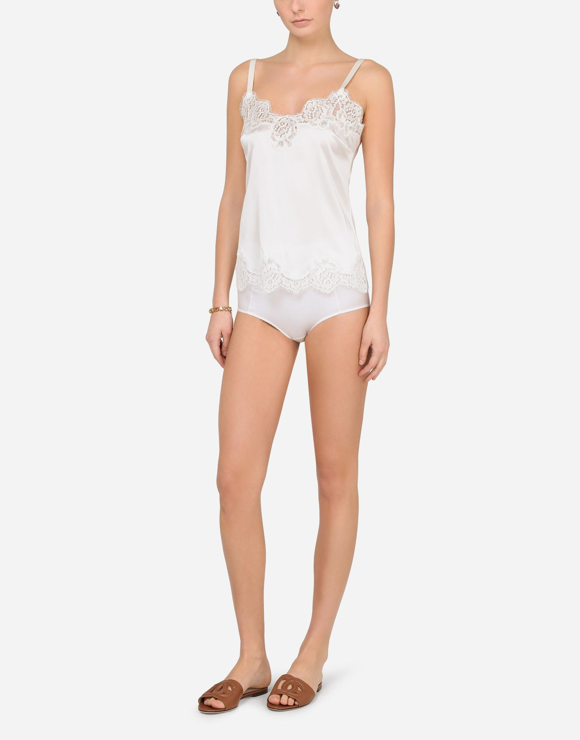 Satin lingerie-style top with lace detailing