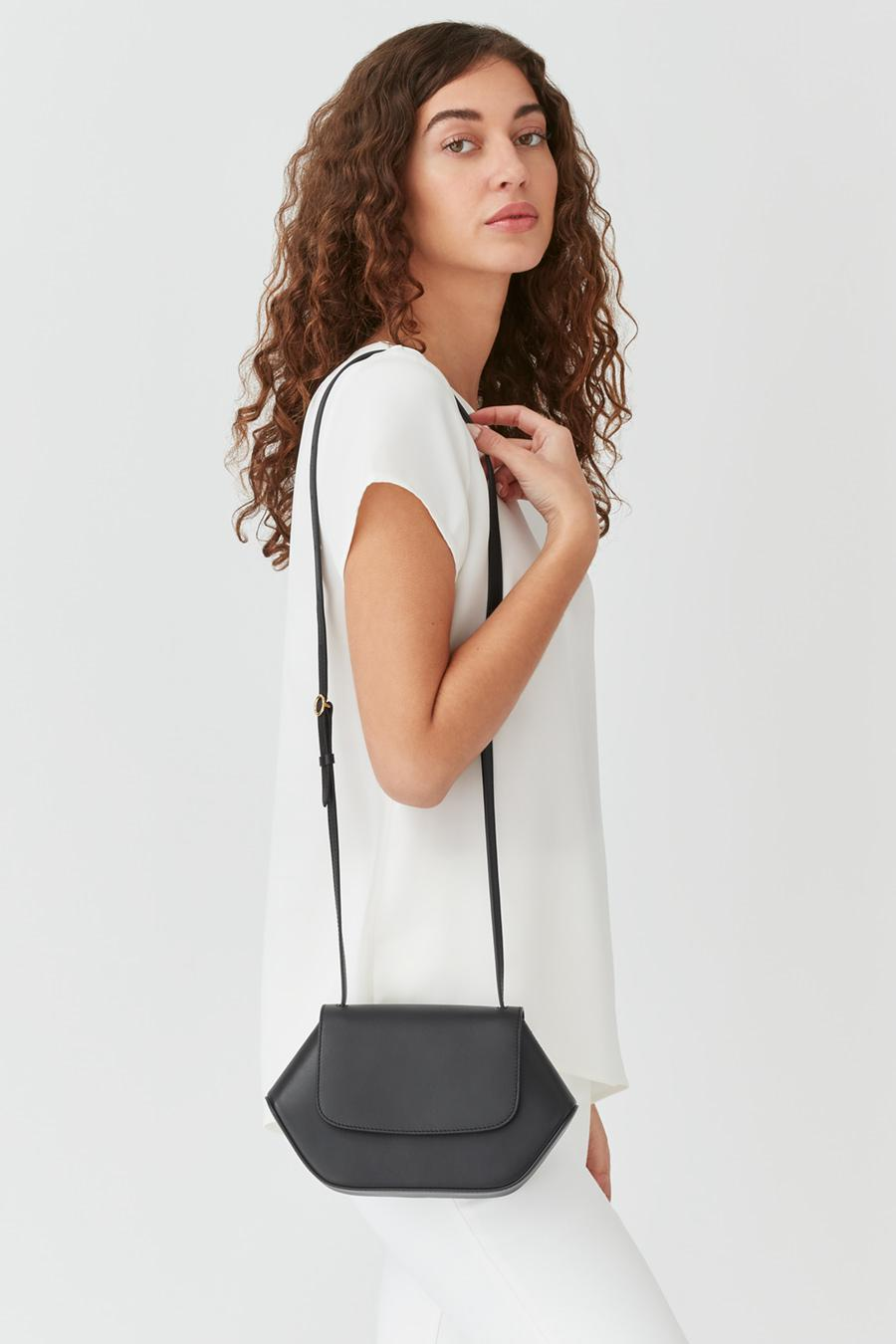 Women's Mini Hexagon Crossbody Bag in Black   Smooth Leather by Cuyana 4