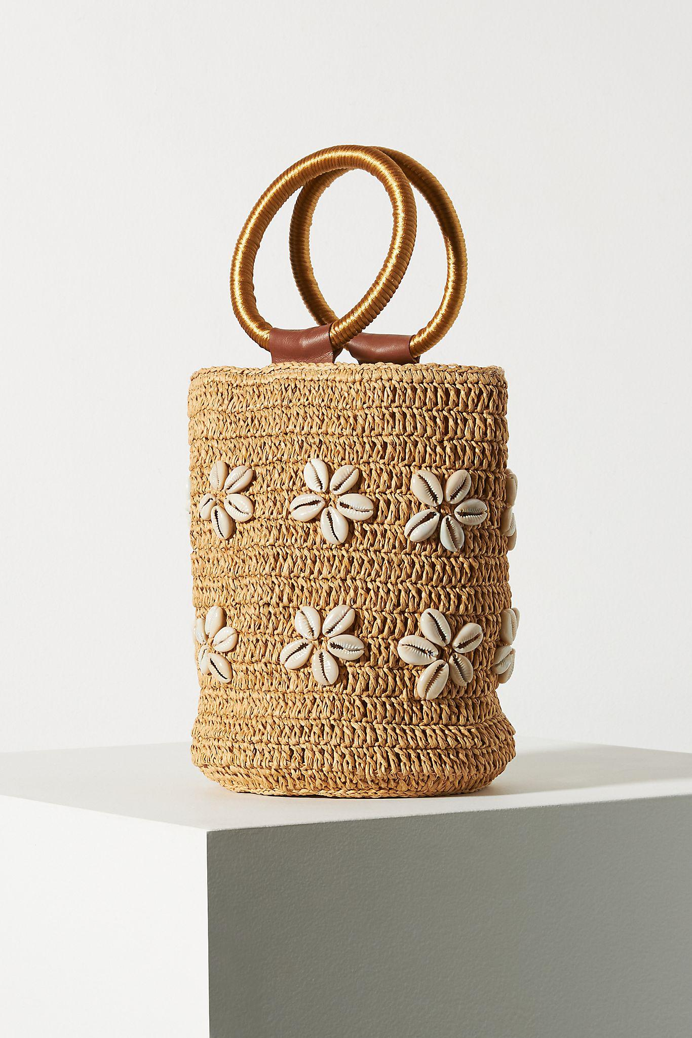 Shell-Embellished Ring Handle Clutch