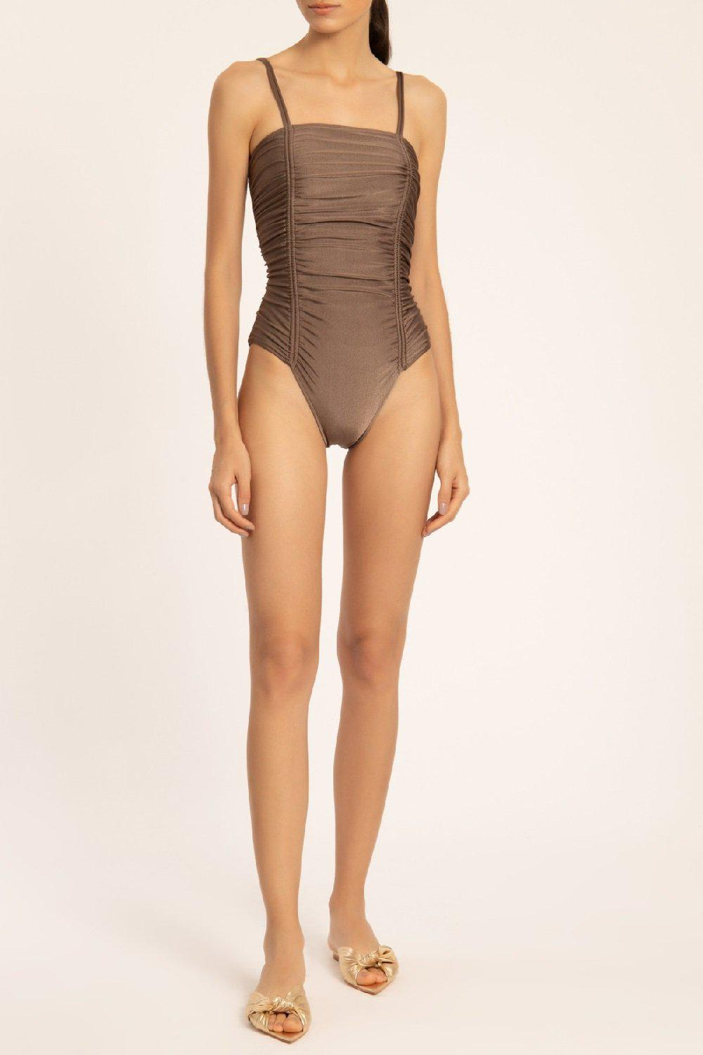 Solid Frilled Swimsuit With Straps