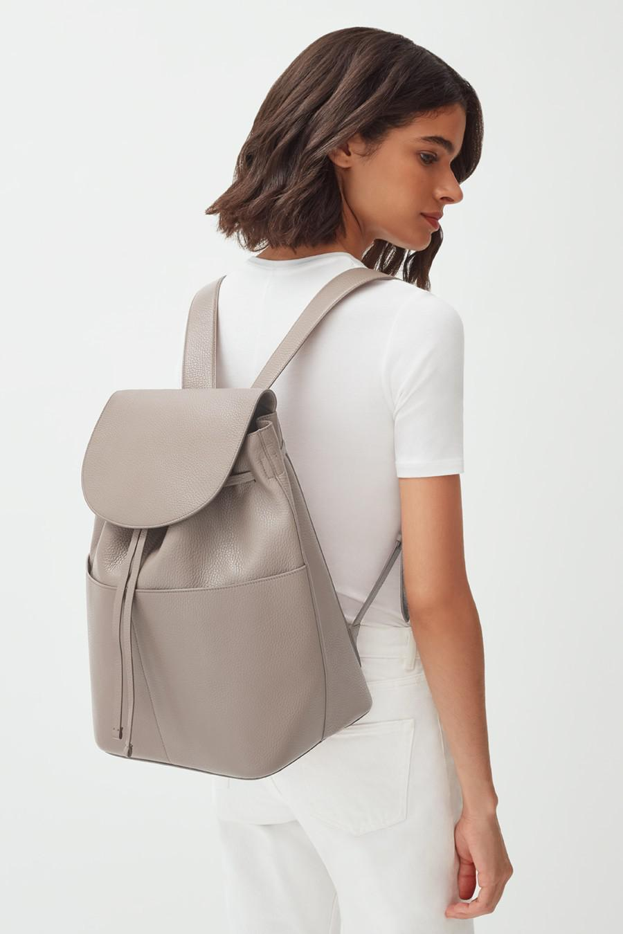 Women's Large Leather Backpack in Stone | Pebbled Leather by Cuyana 5