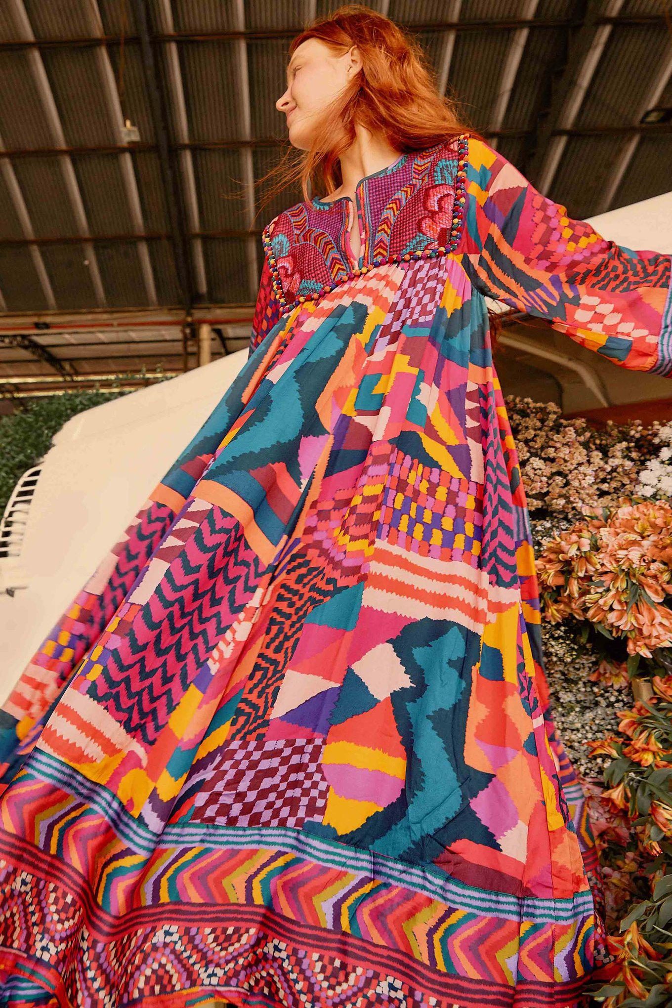 RED ABSTRACT PATCHES KAFTAN DRESS