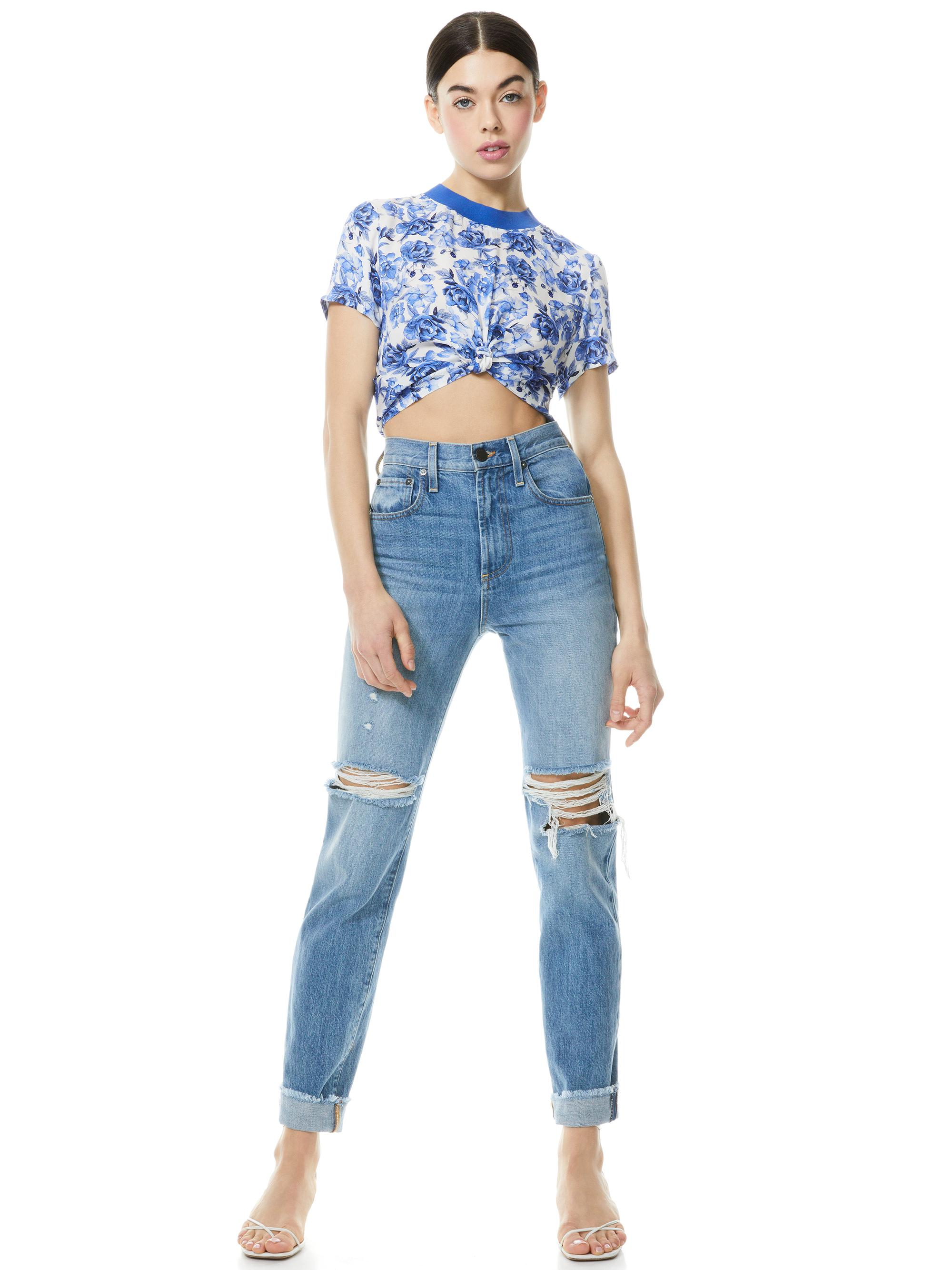 KANE FLORAL TIE FRONT TEE 2