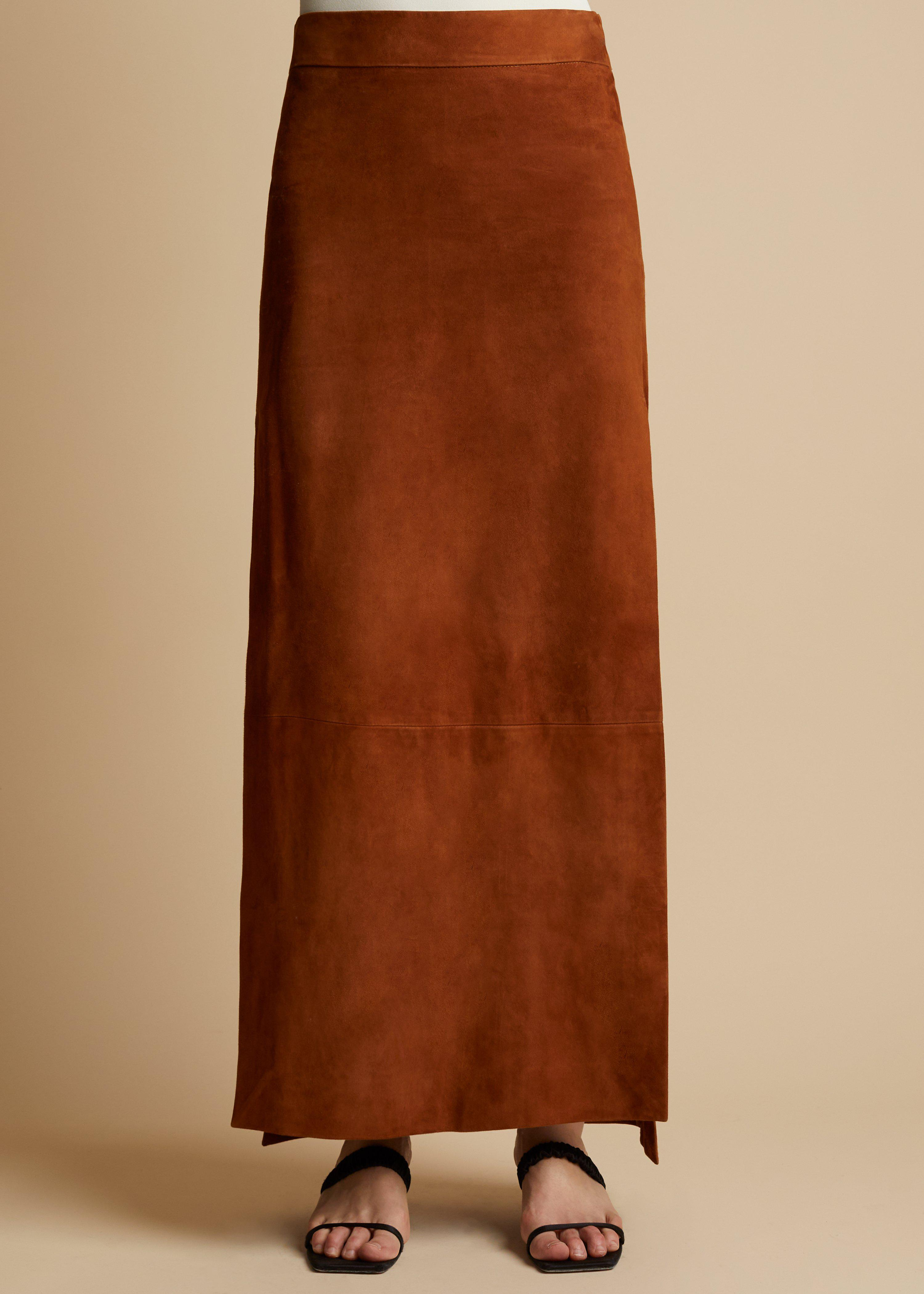 The Myla Skirt in Chestnut Suede 1