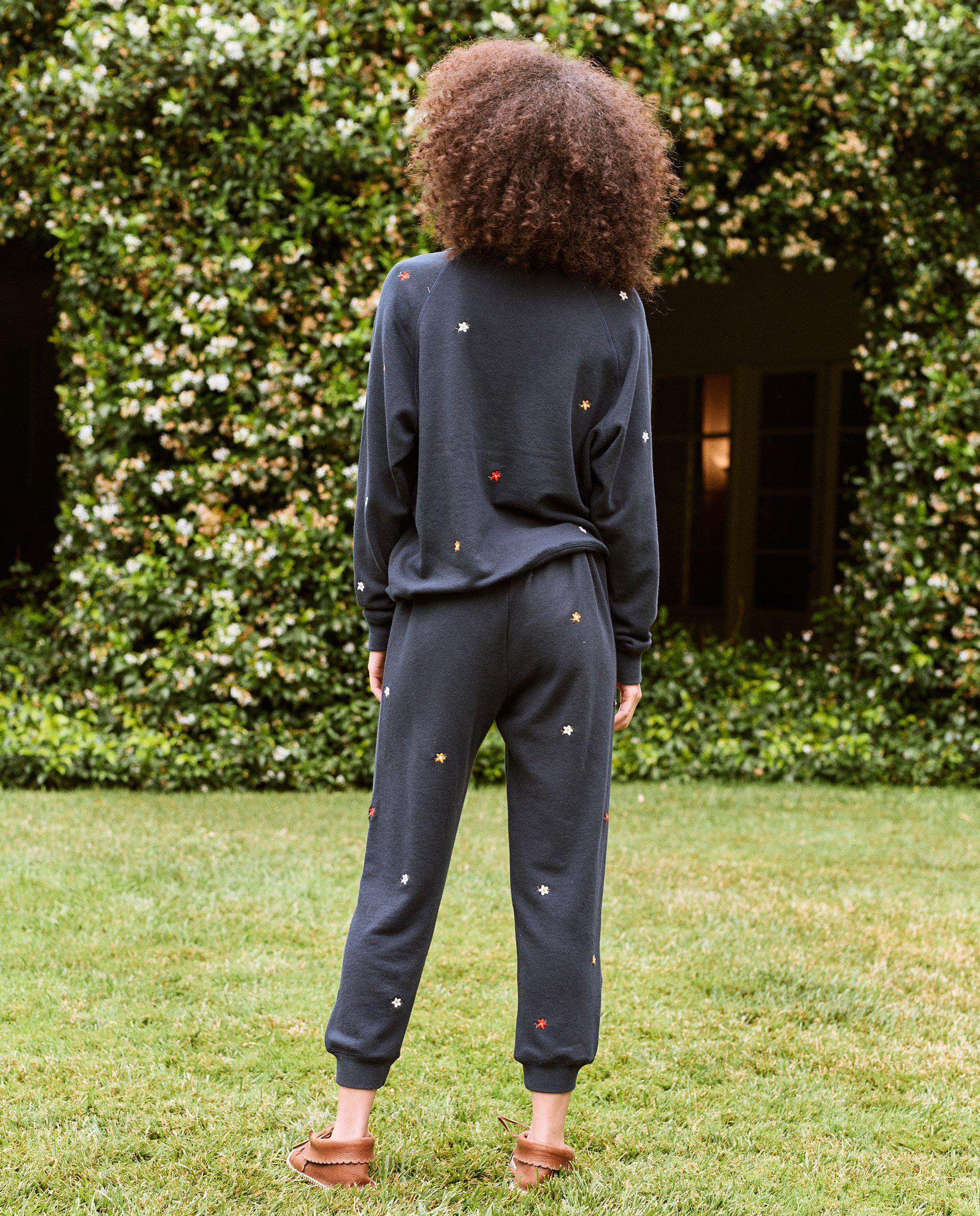 The Cropped Sweatpant. Embroidered -- Navy with Seed Floral Embroidery 2