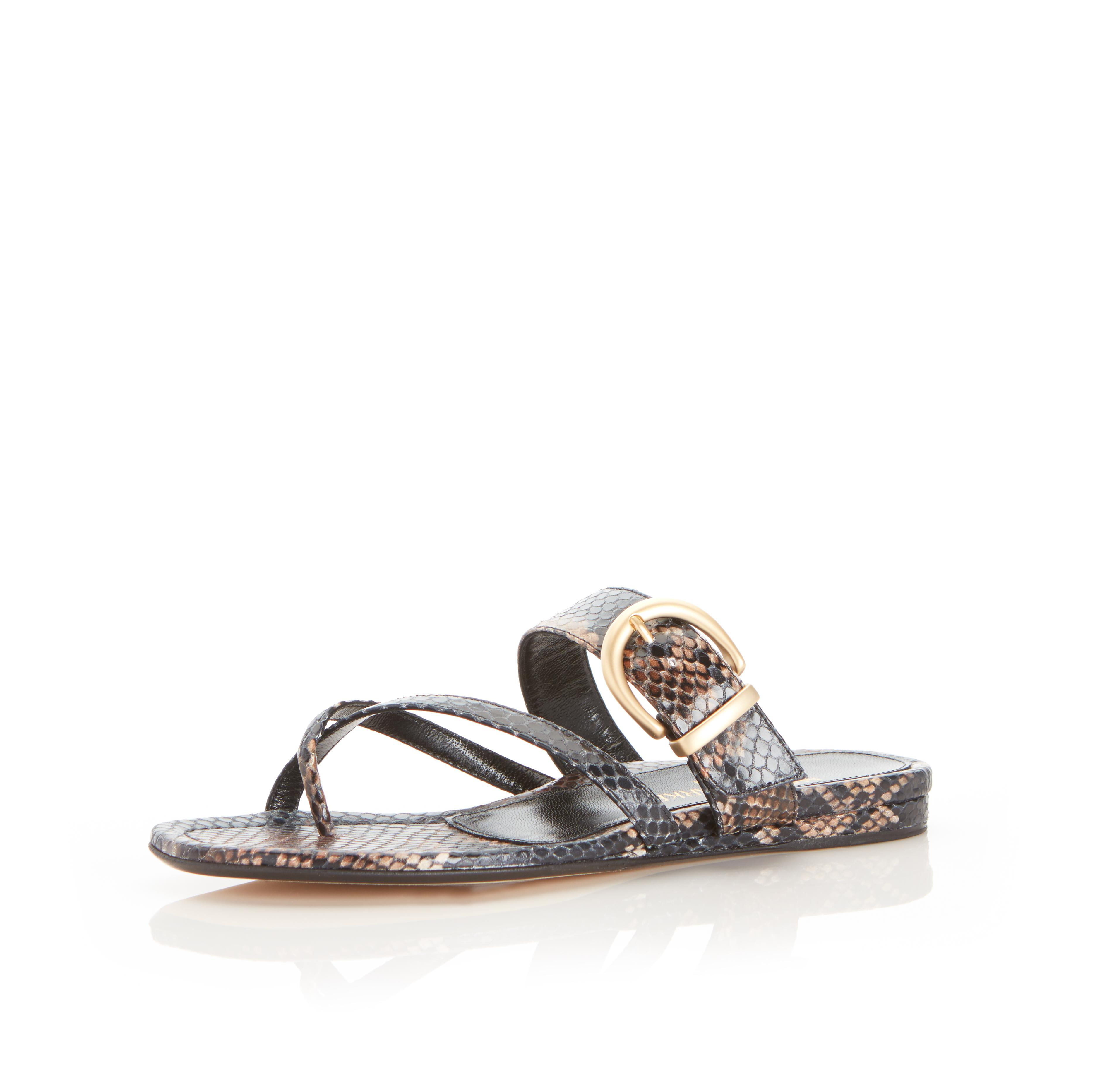 Hayley | Leather Thong Sandal With Metal Buckle Detail 1