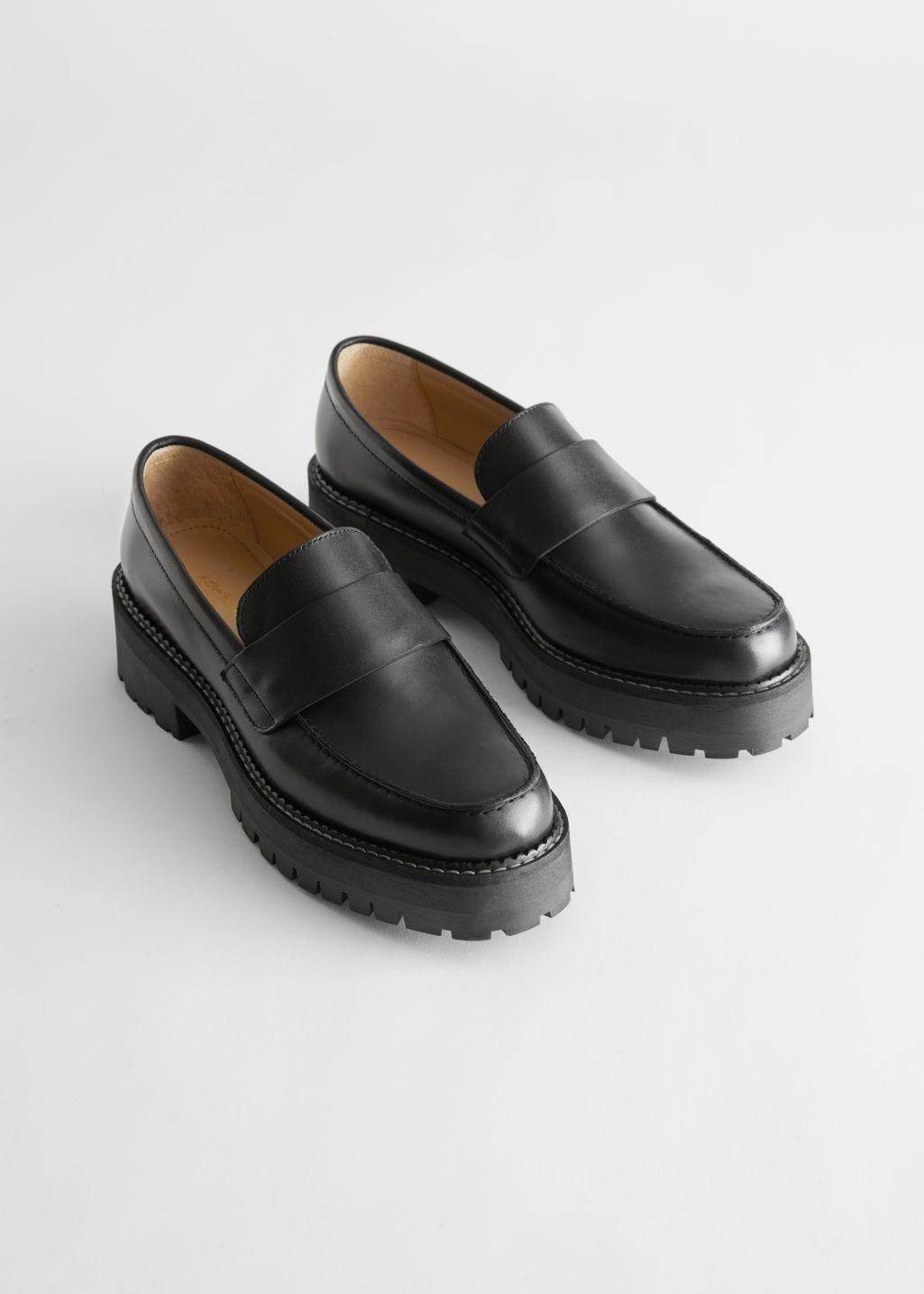 Chunky Leather Penny Loafers