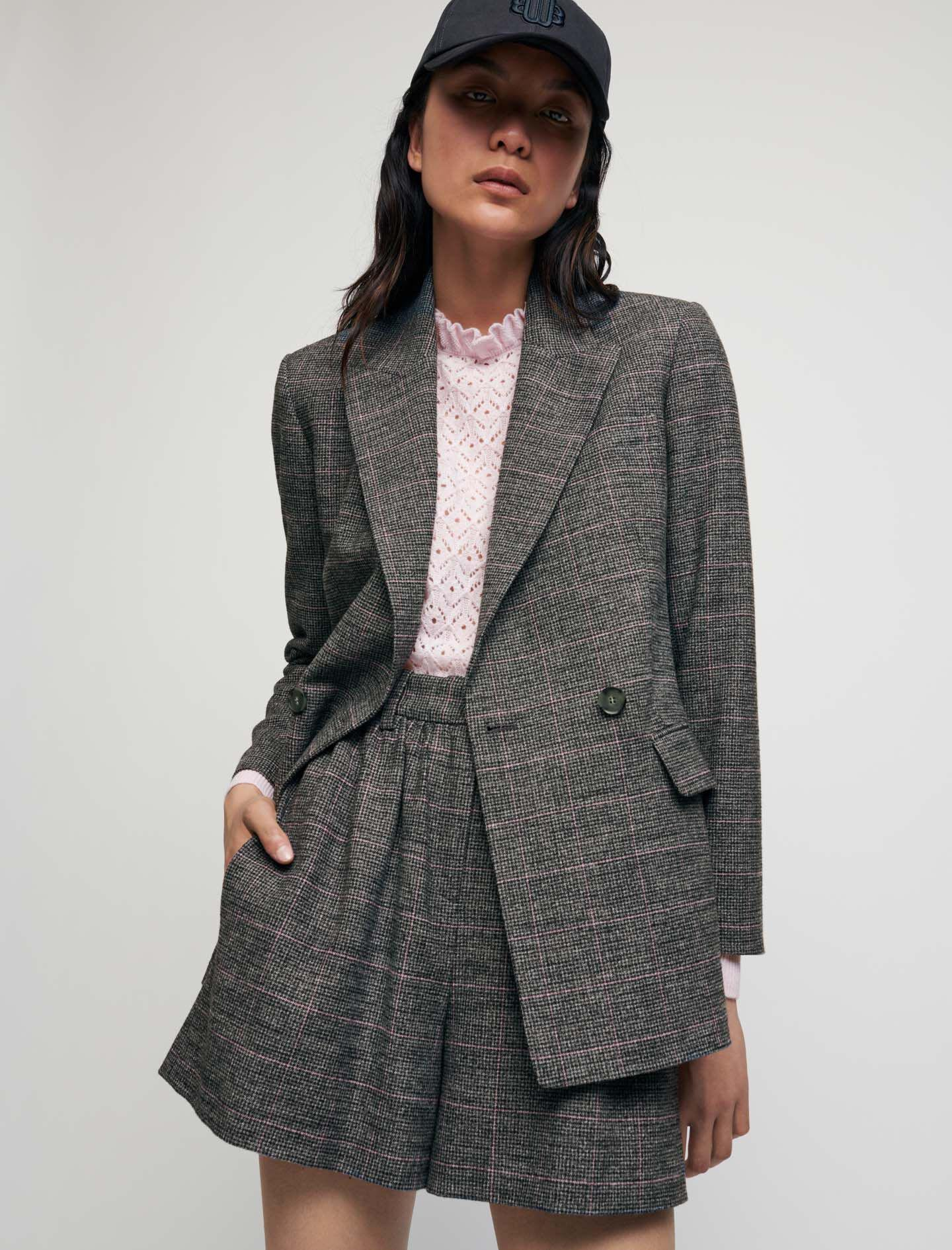 SLIGHTLY FITTED CHECKED JACKET 1