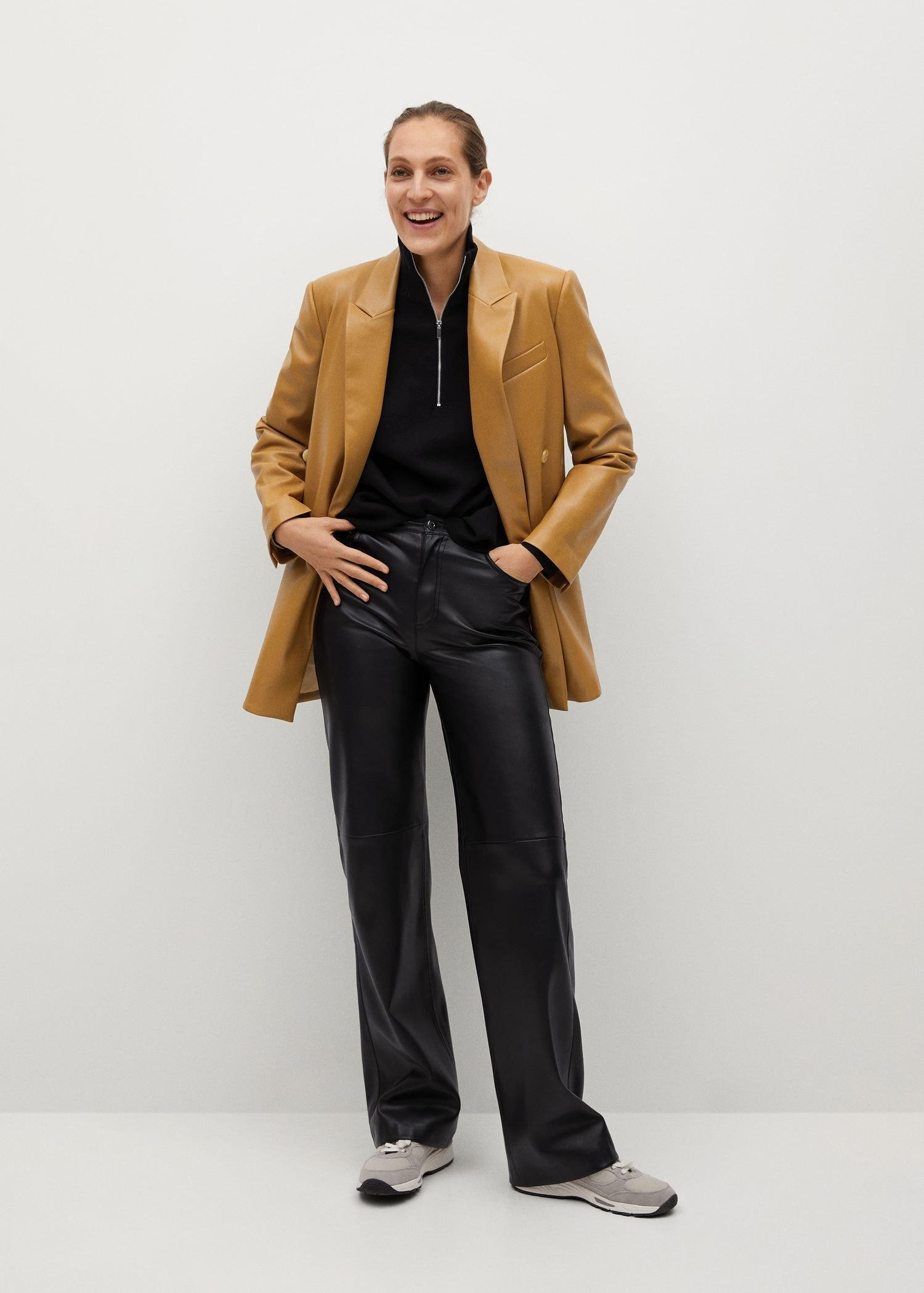 Faux-leather double-breasted blazer 1