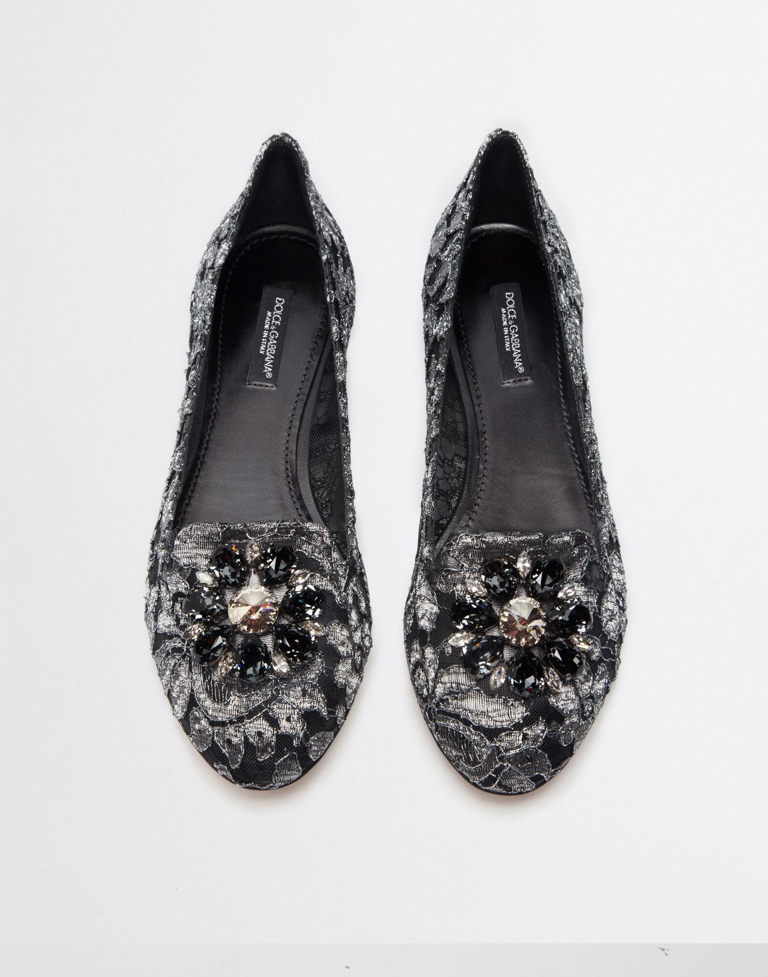 Slipper in Taormina lurex lace with crystals 1