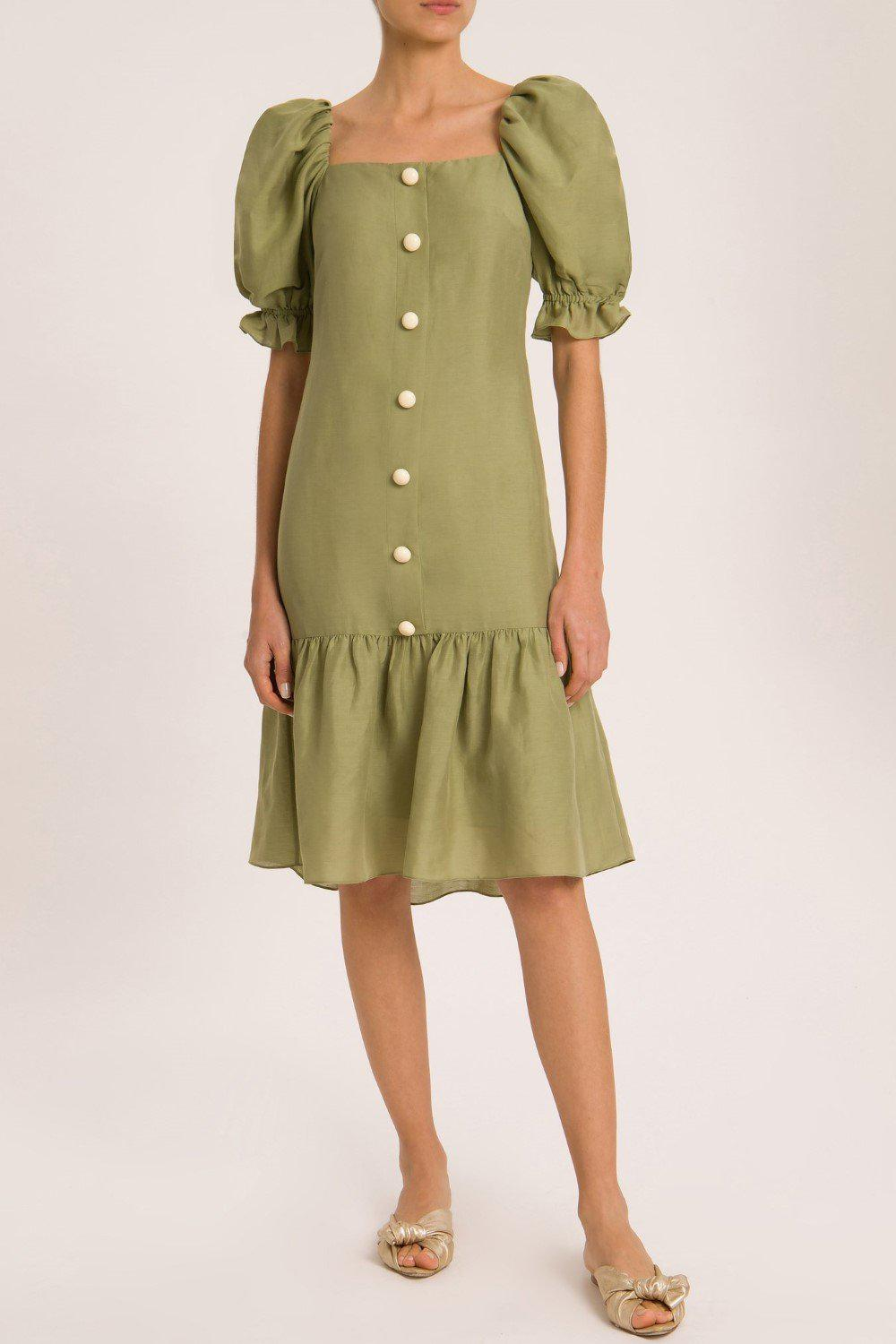 Muguet Solid Midi Dress With Buttons