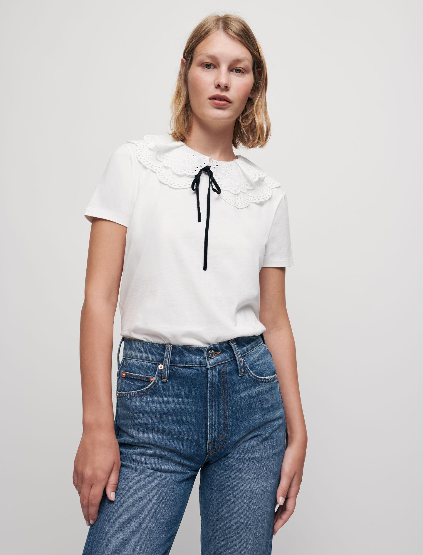 T-SHIRT WITH EMBROIDERED DOUBLE COLLAR