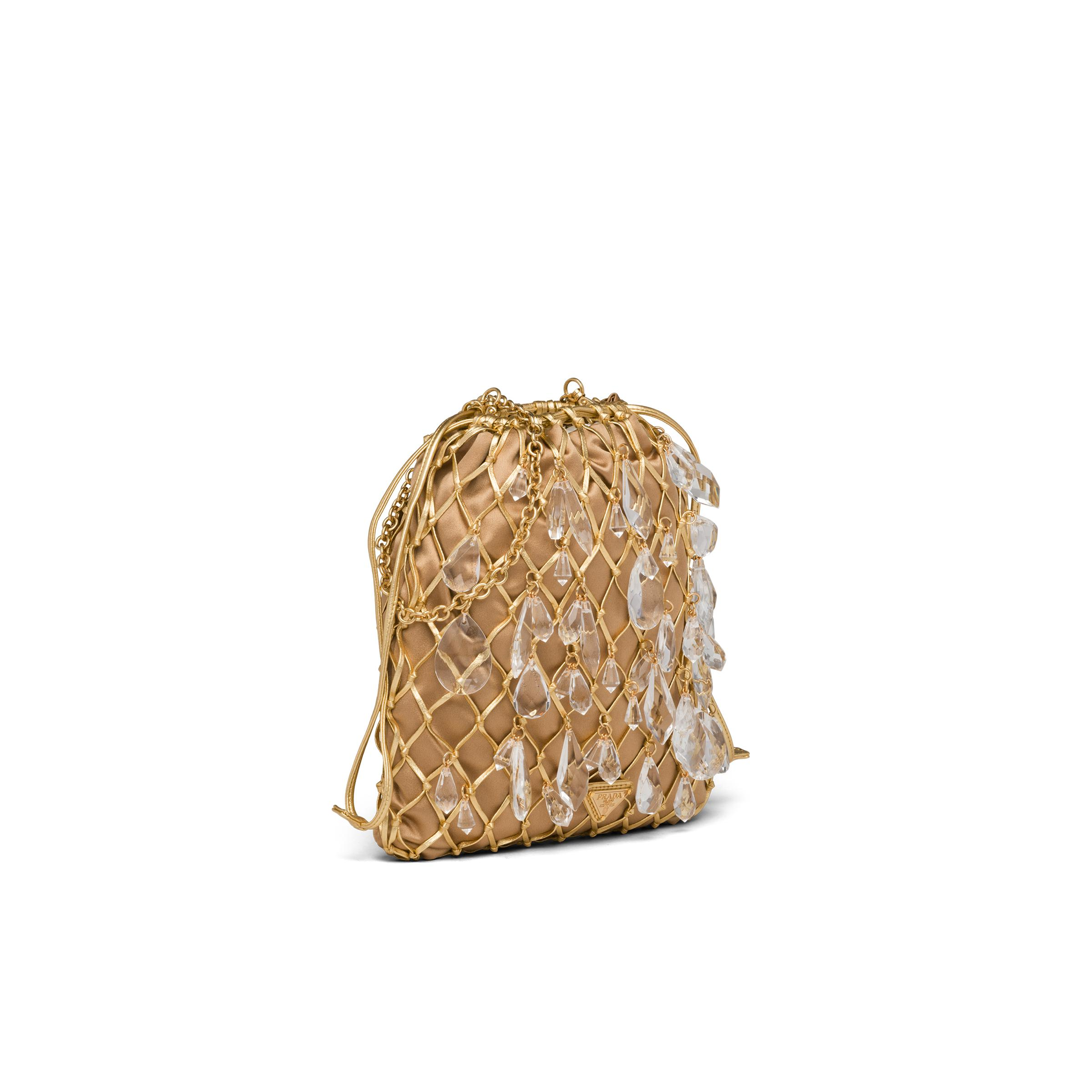 Leather Mesh And Satin Clutch Women Gold 2