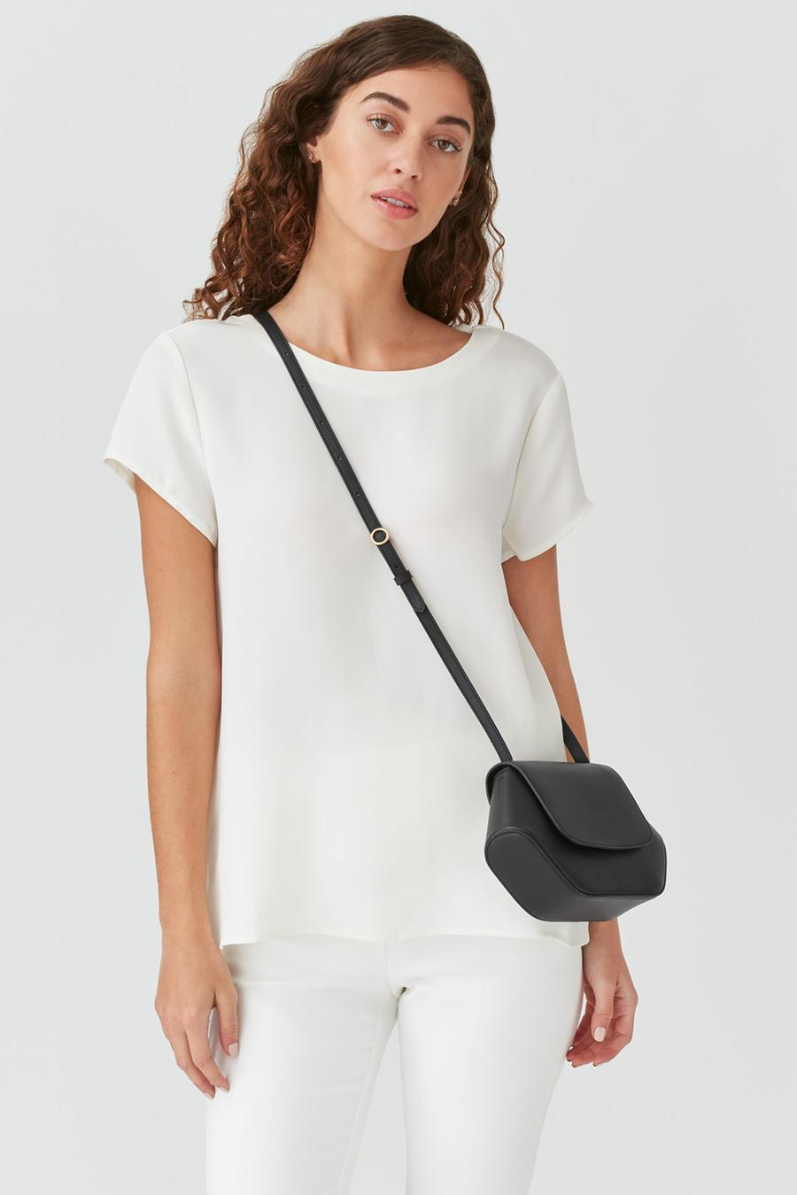 Women's Mini Hexagon Crossbody Bag in Black   Smooth Leather by Cuyana 3
