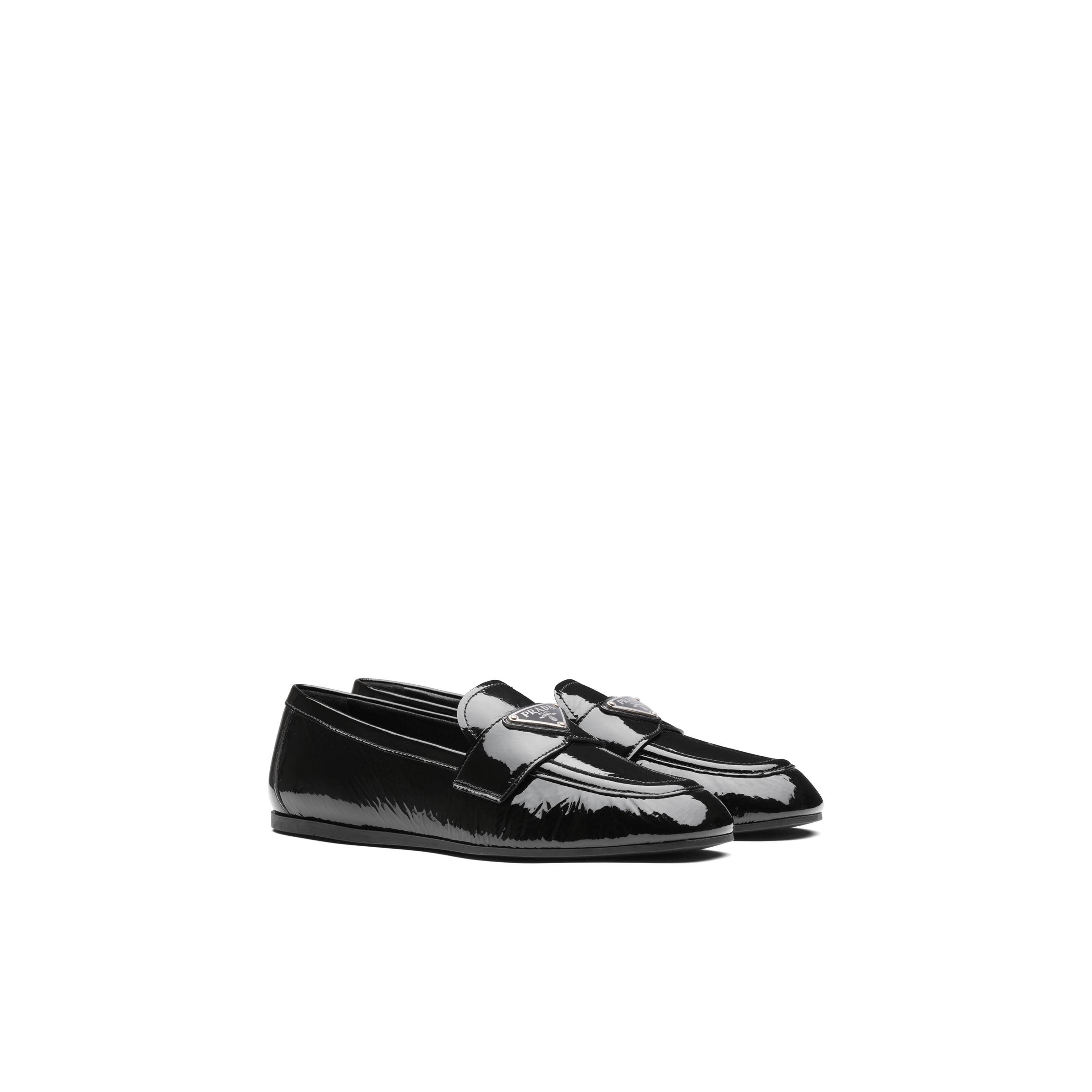 Patent Leather Loafers Women Black Size 36 0