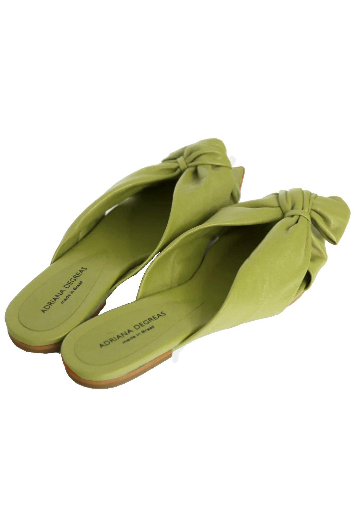 Green Flat Sandals With Knot Detail