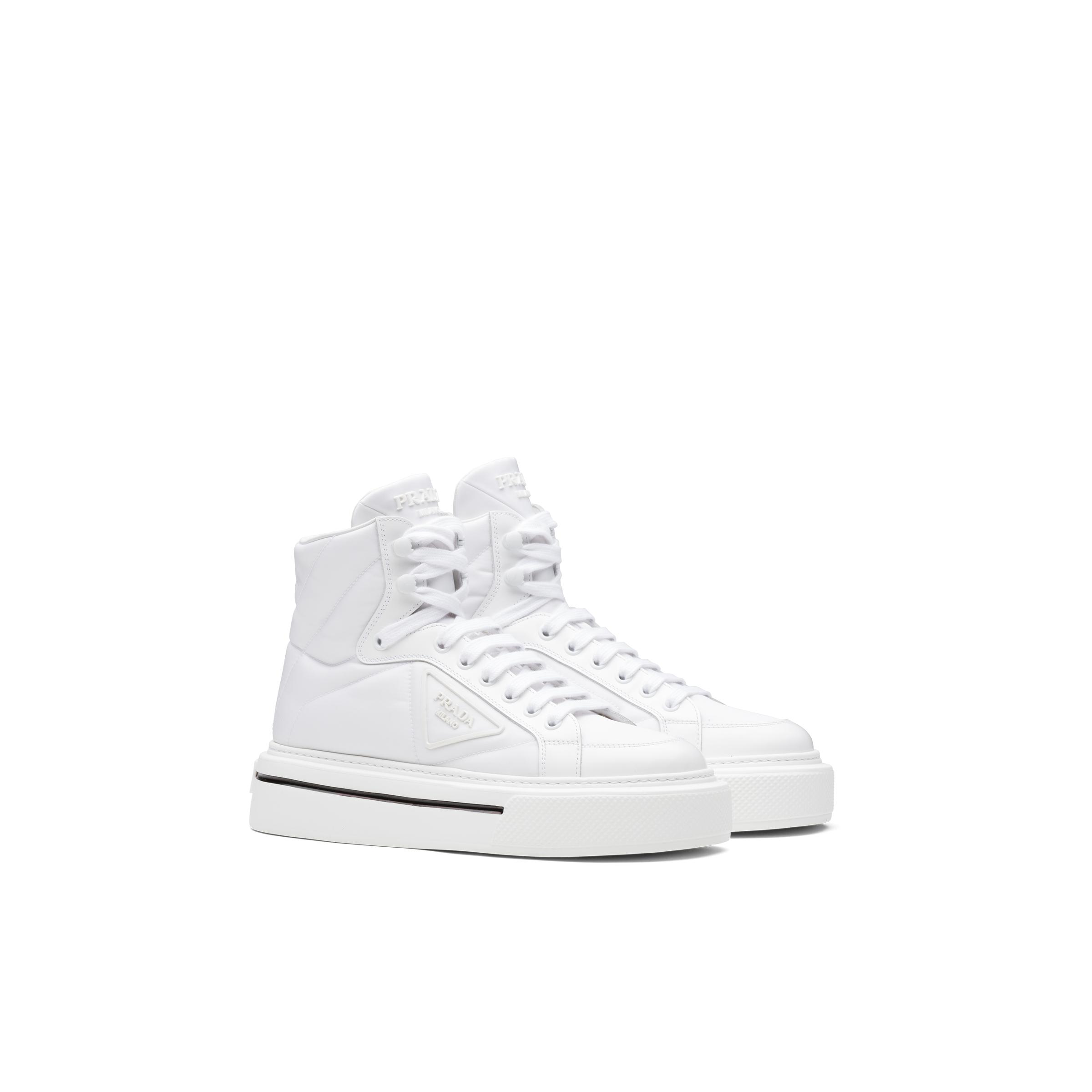 Macro Re-nylon And Brushed Leather High-top Sneakers Women White