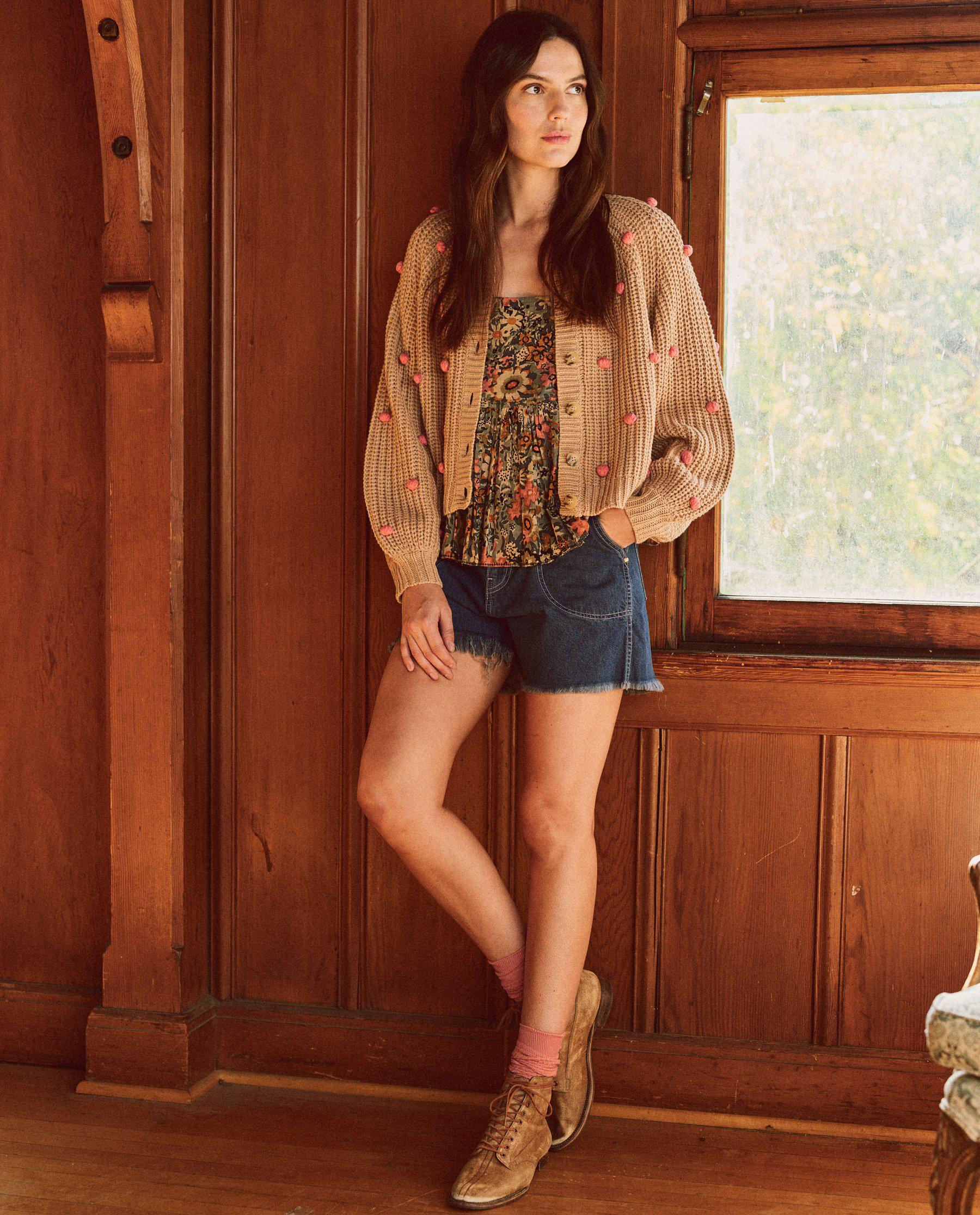 The Bobble Sophomore Cardigan. -- Sand with Pink