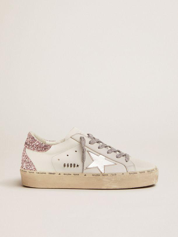 Hi Star sneakers with silver laminated leather star and quartz-pink glitter heel tab