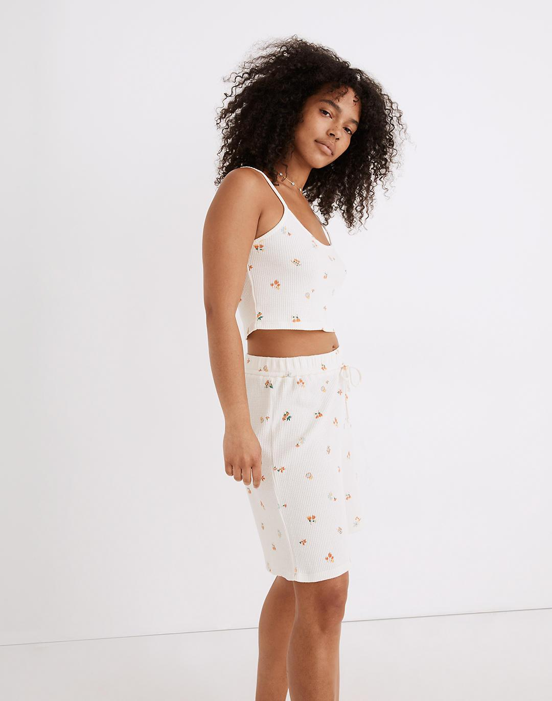 Waffle Knit Pajama Crop Cami in Floral Reef 1
