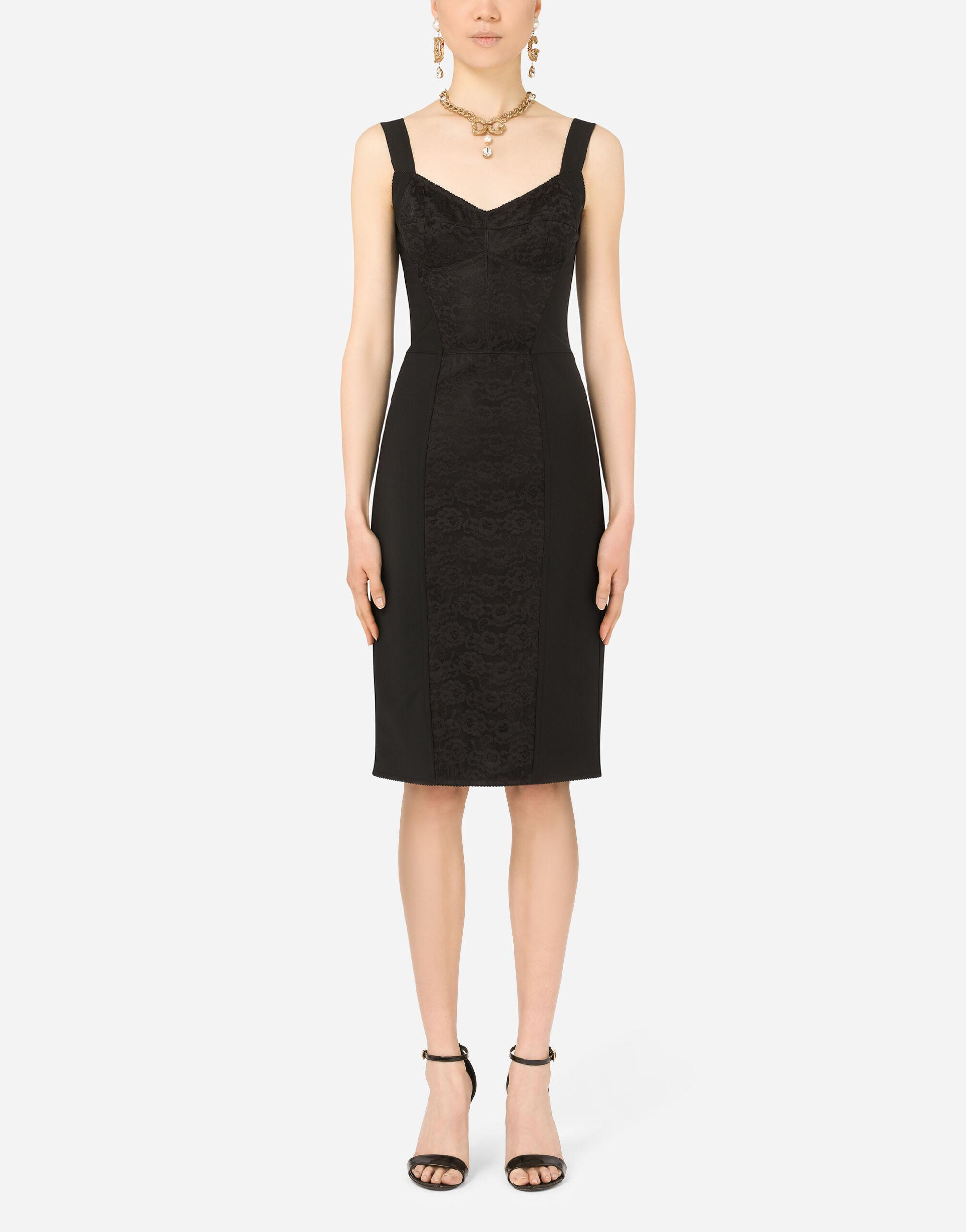 Corset-style midi dress in powernet and lace