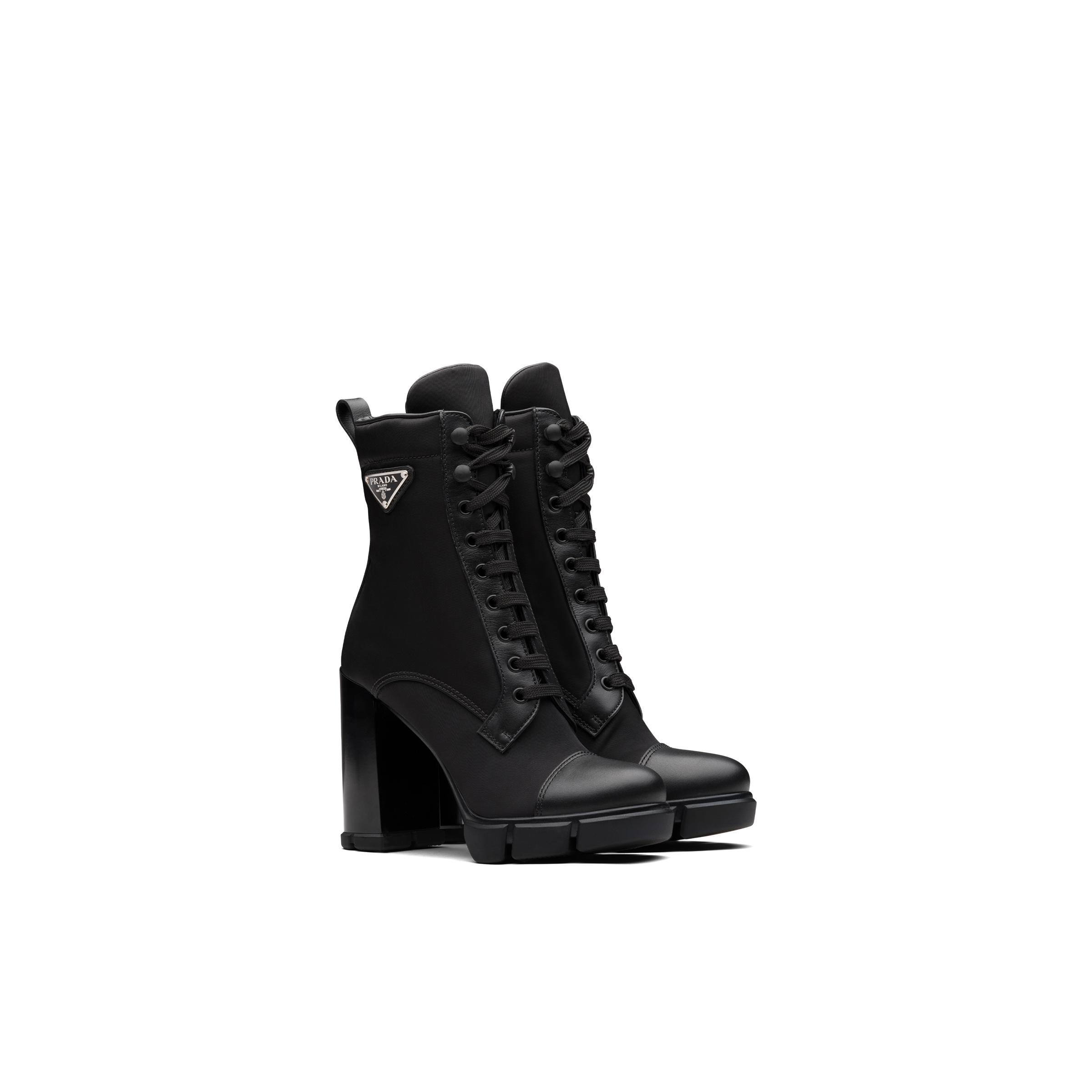 Leather And Nylon Fabric Booties Women Black