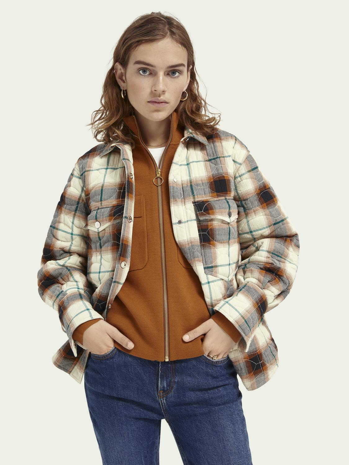 Loose fit quilted shirt jacket
