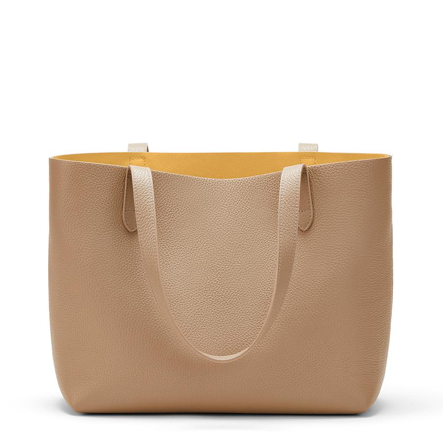 Women's Small Structured Leather Tote Bag in Cappuccino/Yellow | Pebbled Leather by Cuyana