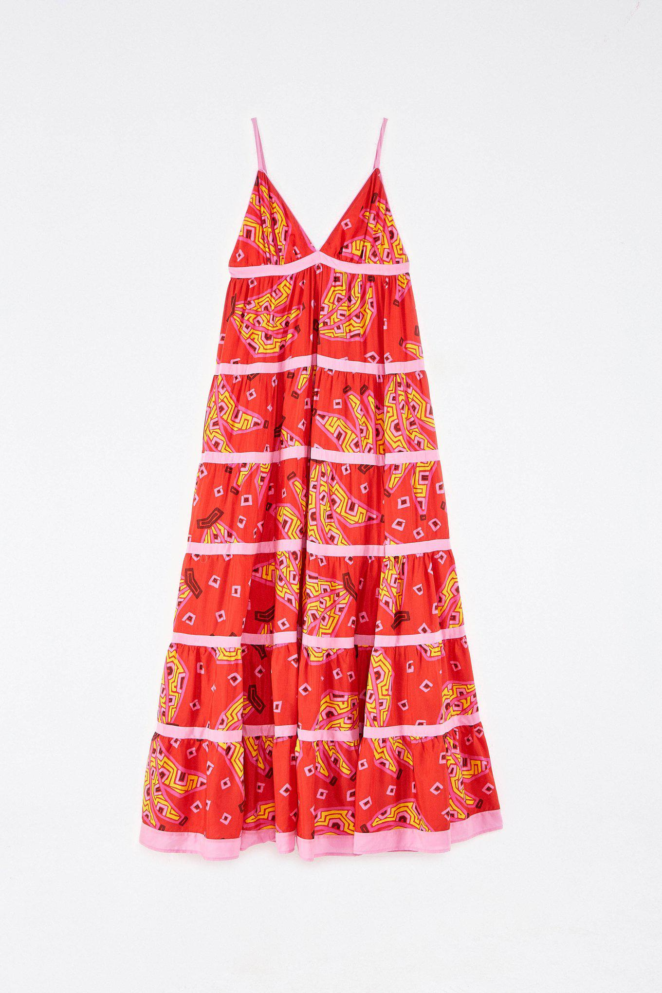 RED BANANAS MAXI TIERED DRESS 5