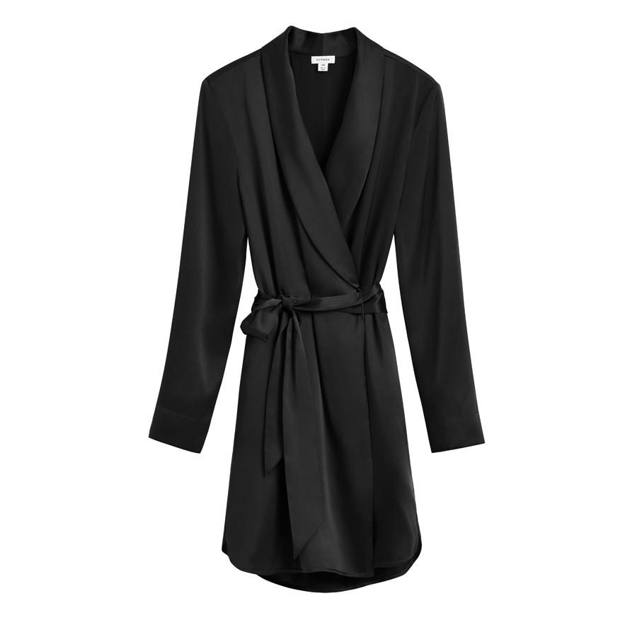 Women's Washable Charmeuse Robe in Black | Size: