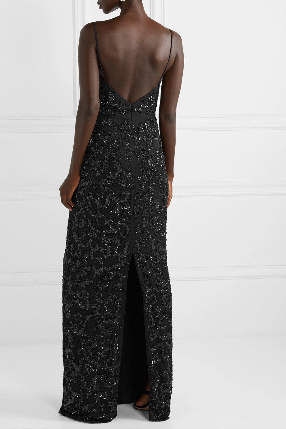 PLUNGE NECK EMBROIDERED GOWN 2