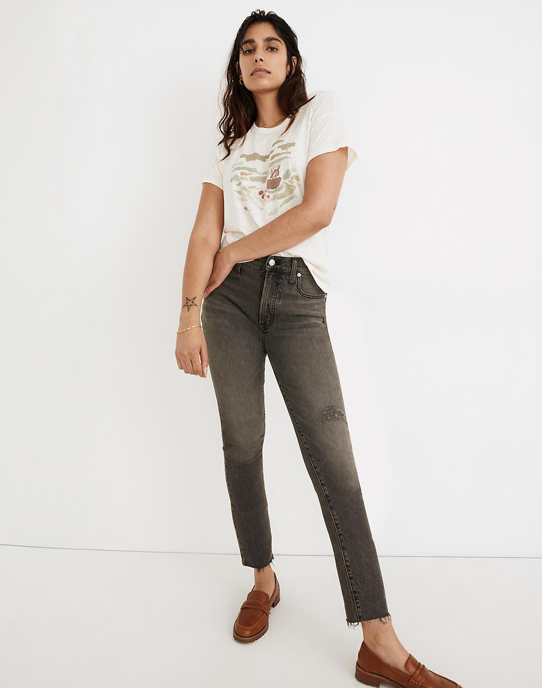 The Tall Perfect Vintage Jean in Cosner Wash: Knee-Rip Edition