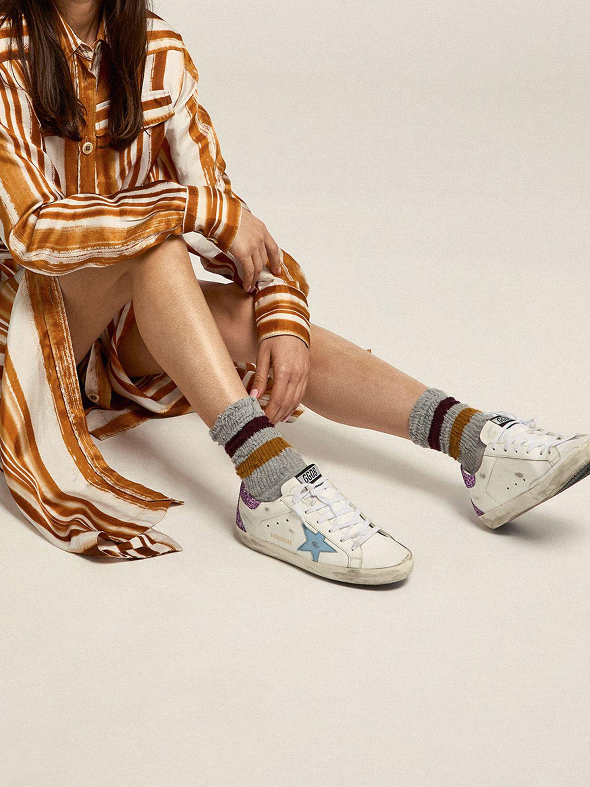 Super-Star sneakers with lavender glitter heel tab and light-blue metallic leather star 4