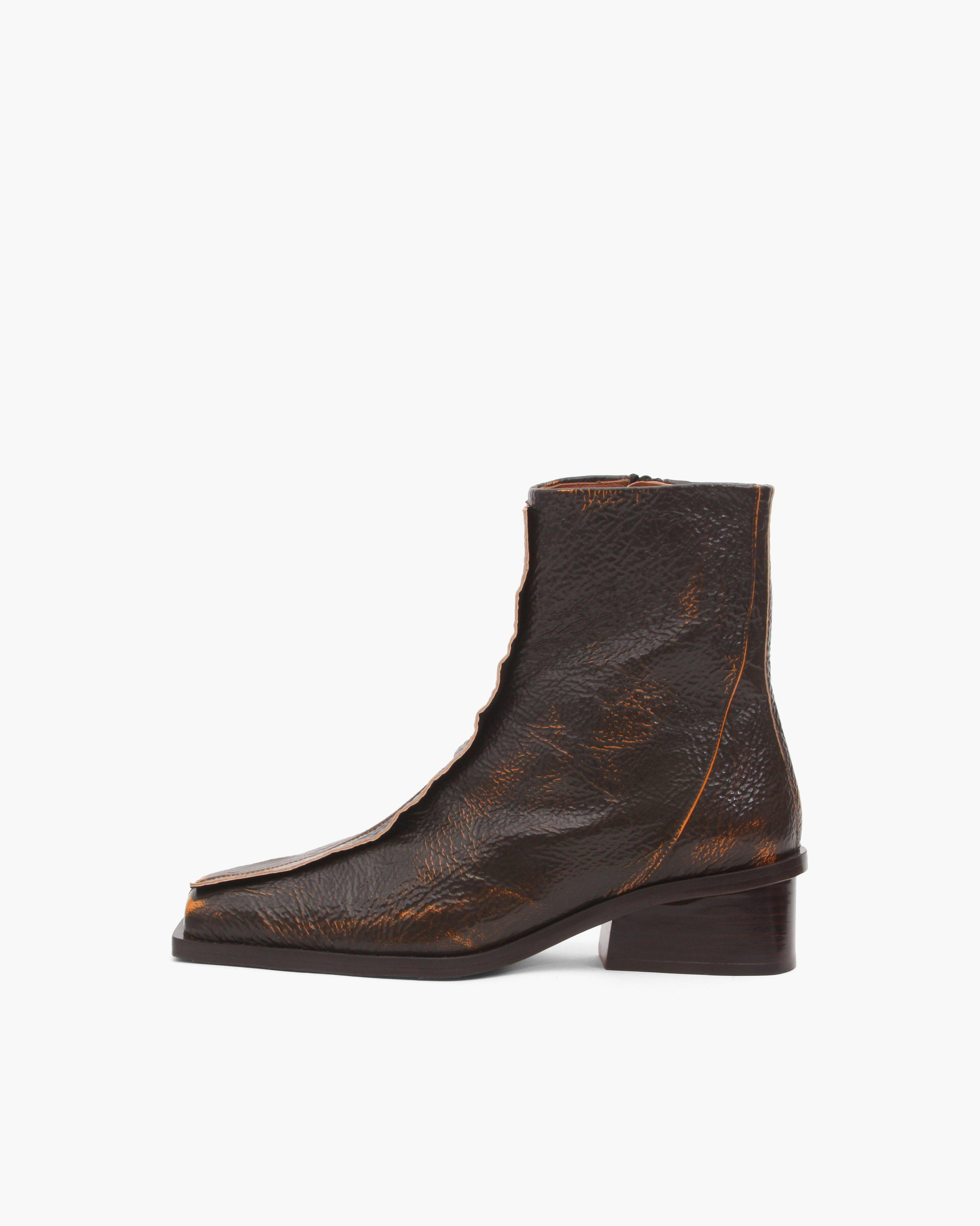 Miki Boots Leather Two-Tone Brown