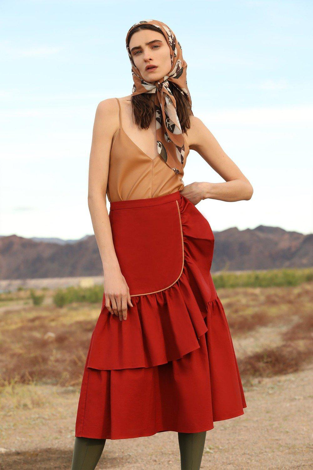 Horse Skin Solid Midi Skirt with Ruffles