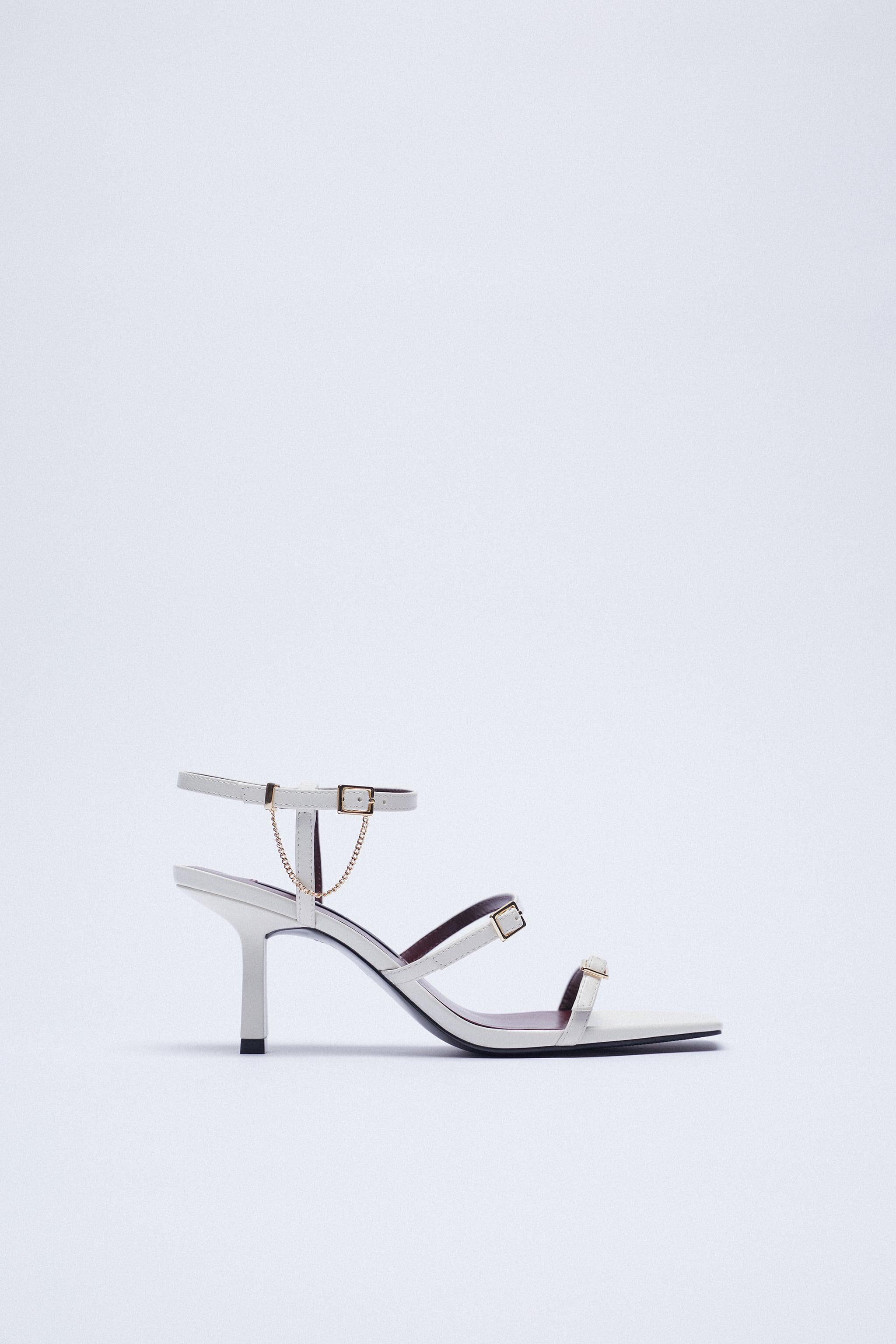 LEATHER HIGH HEEL STRAPPY SANDALS WITH BUCKLES 4