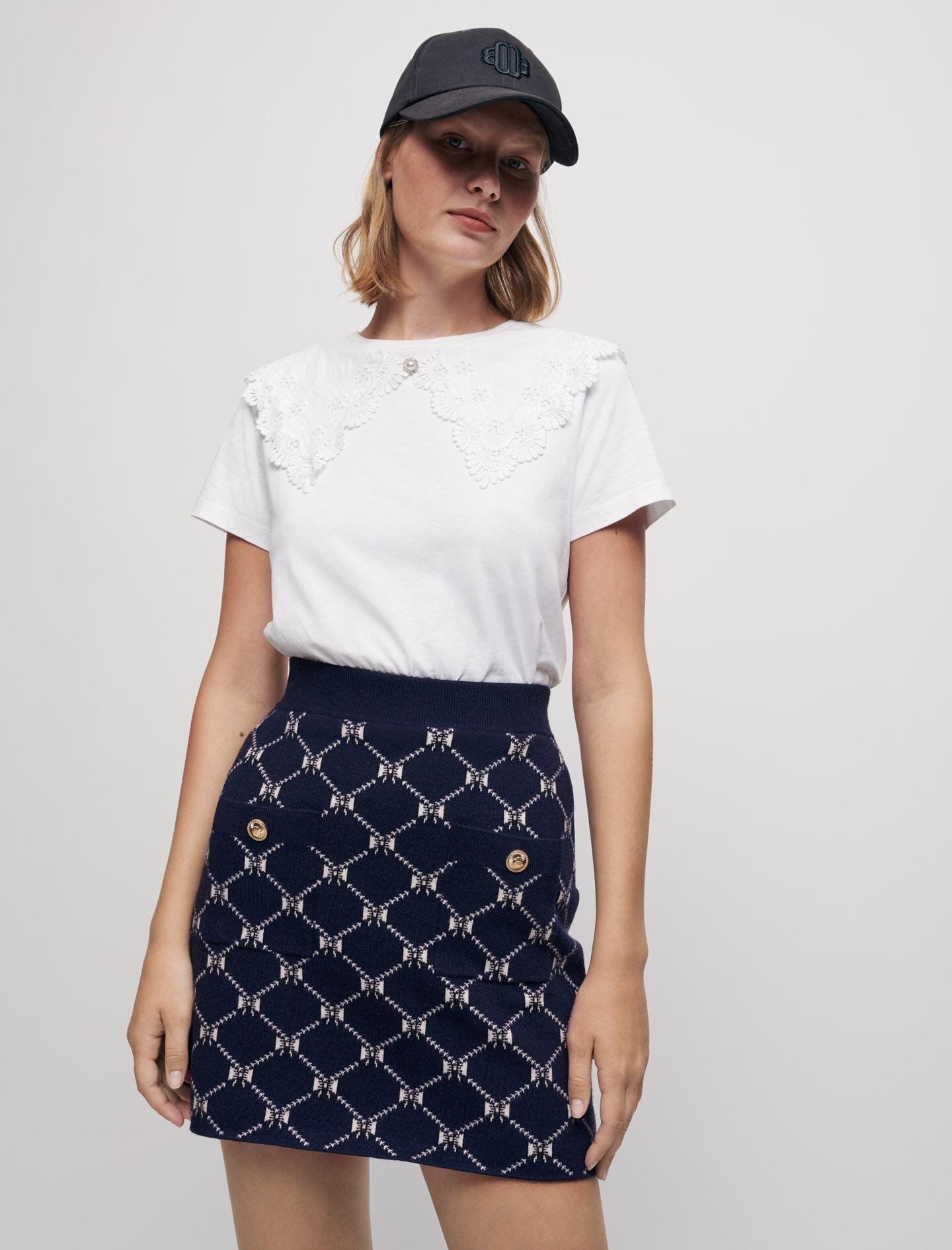JACQUARD KNIT SKIRT WITH BOWS 1