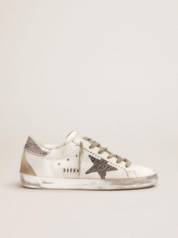 Super-Star sneakers with silver laminated leather heel tab and printed detail
