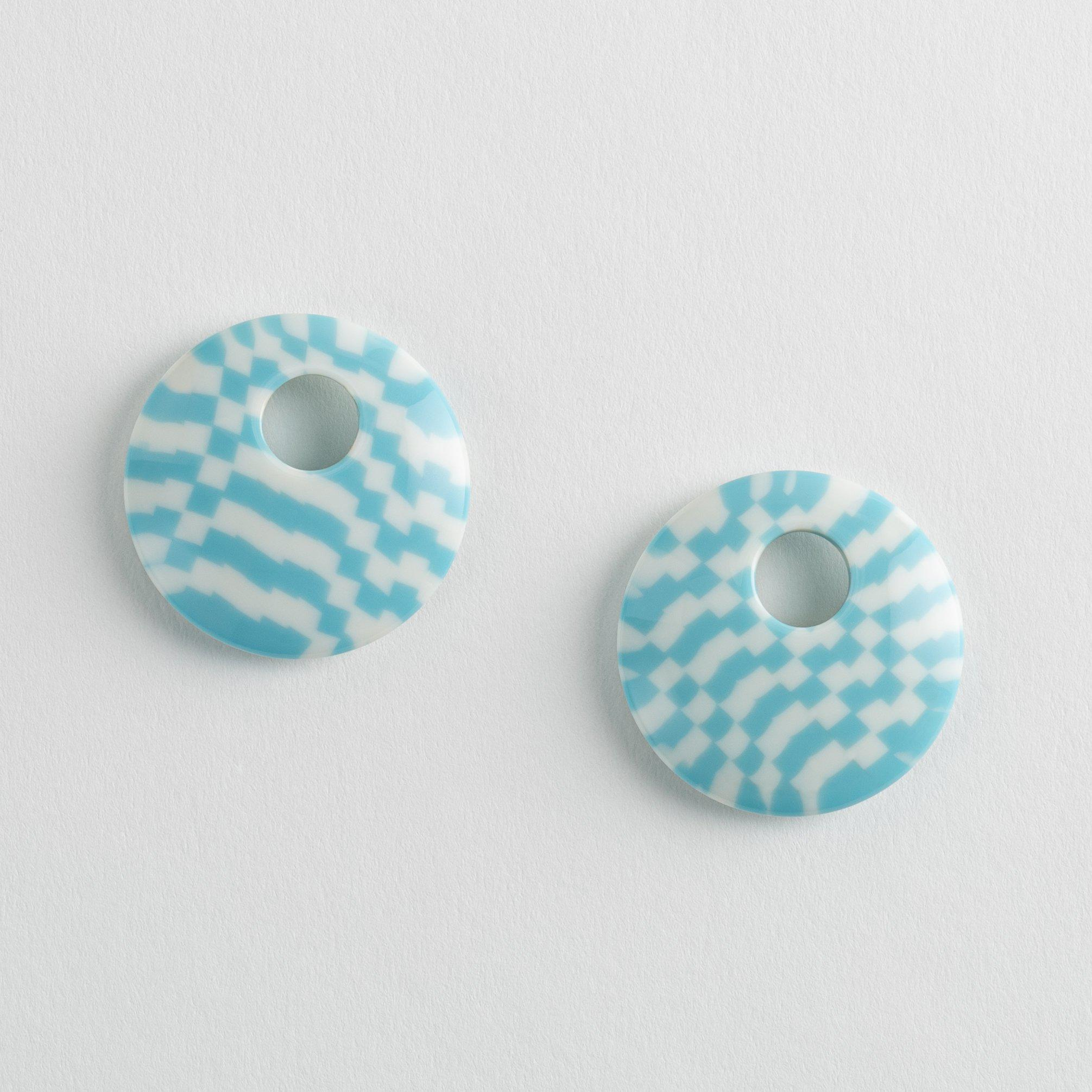Disc Charms in Blue Checker
