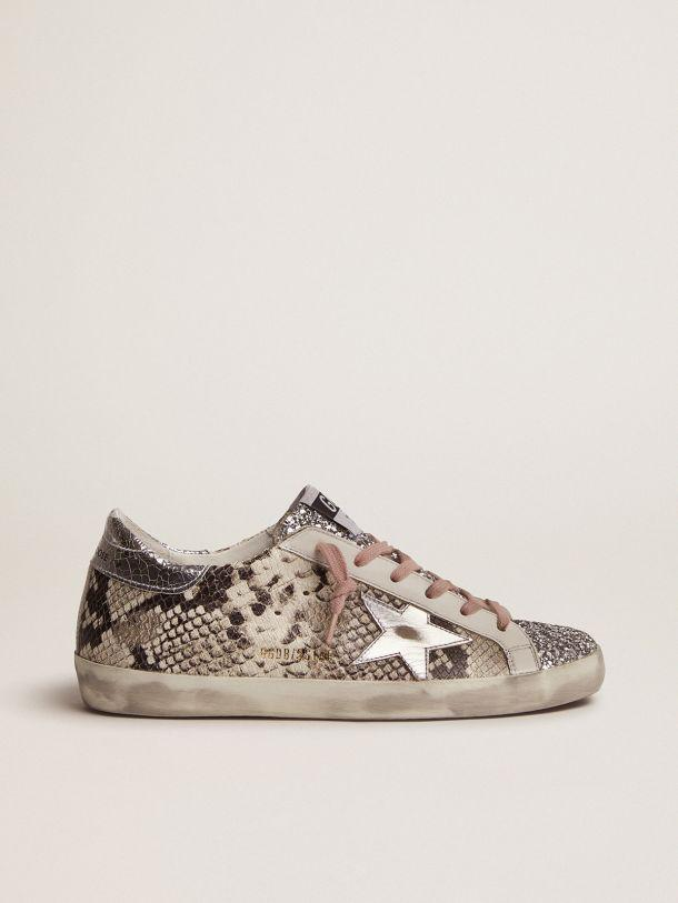 Super-Star LTD sneakers with snake print and glitter