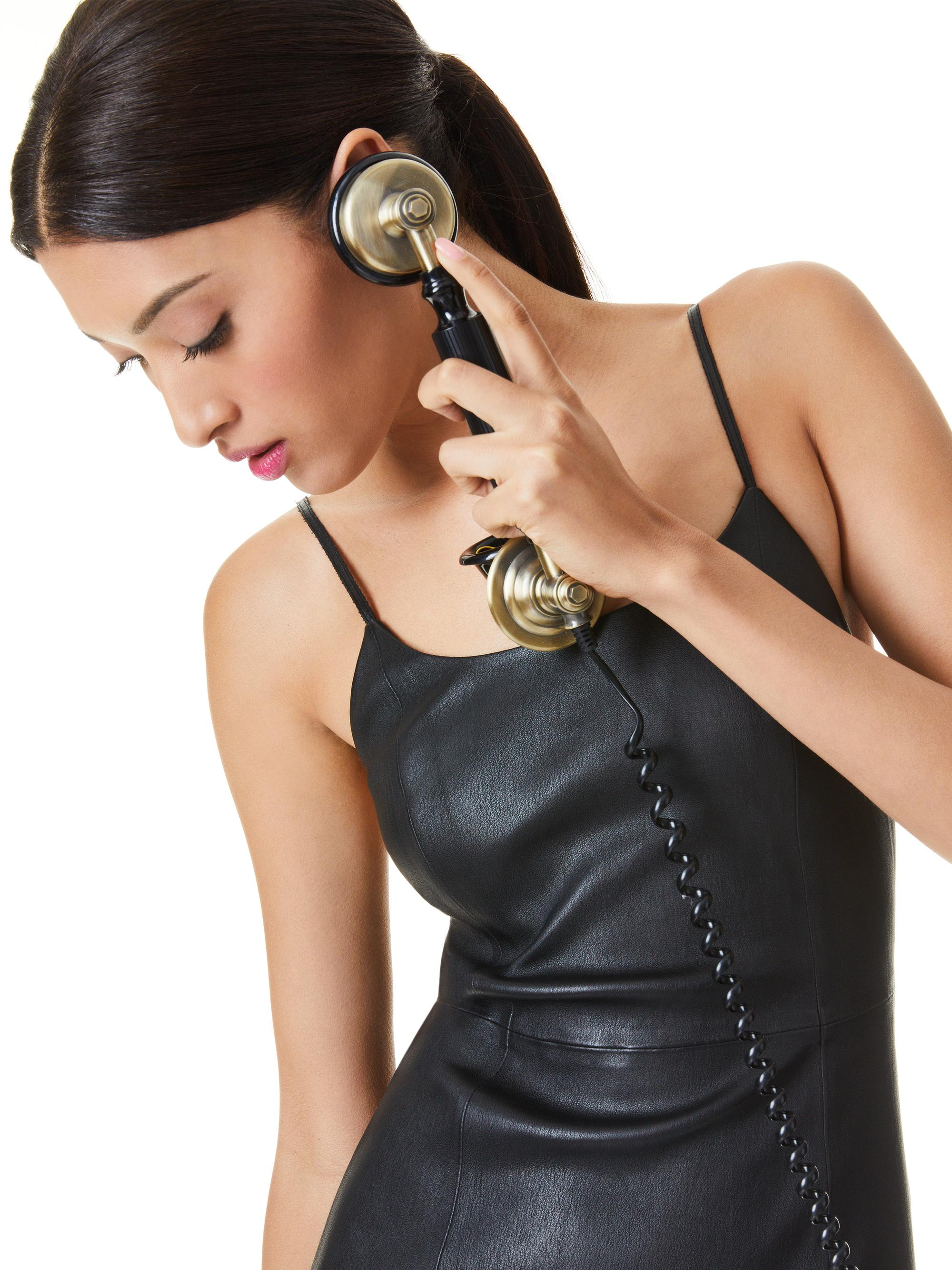 NELLE FITTED LEATHER MINI DRESS 3