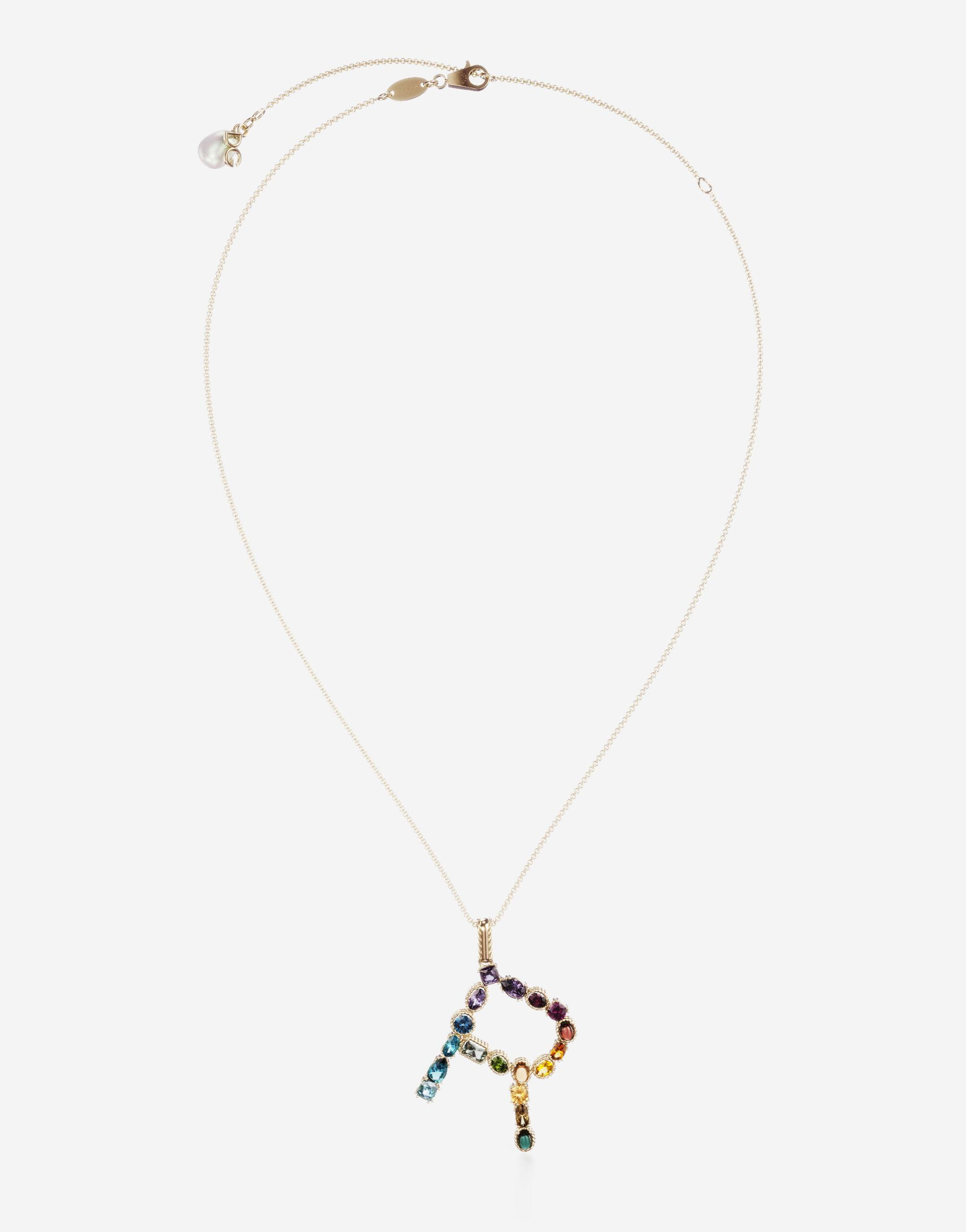 Rainbow alphabet R pendant in yellow gold with multicolor fine gems