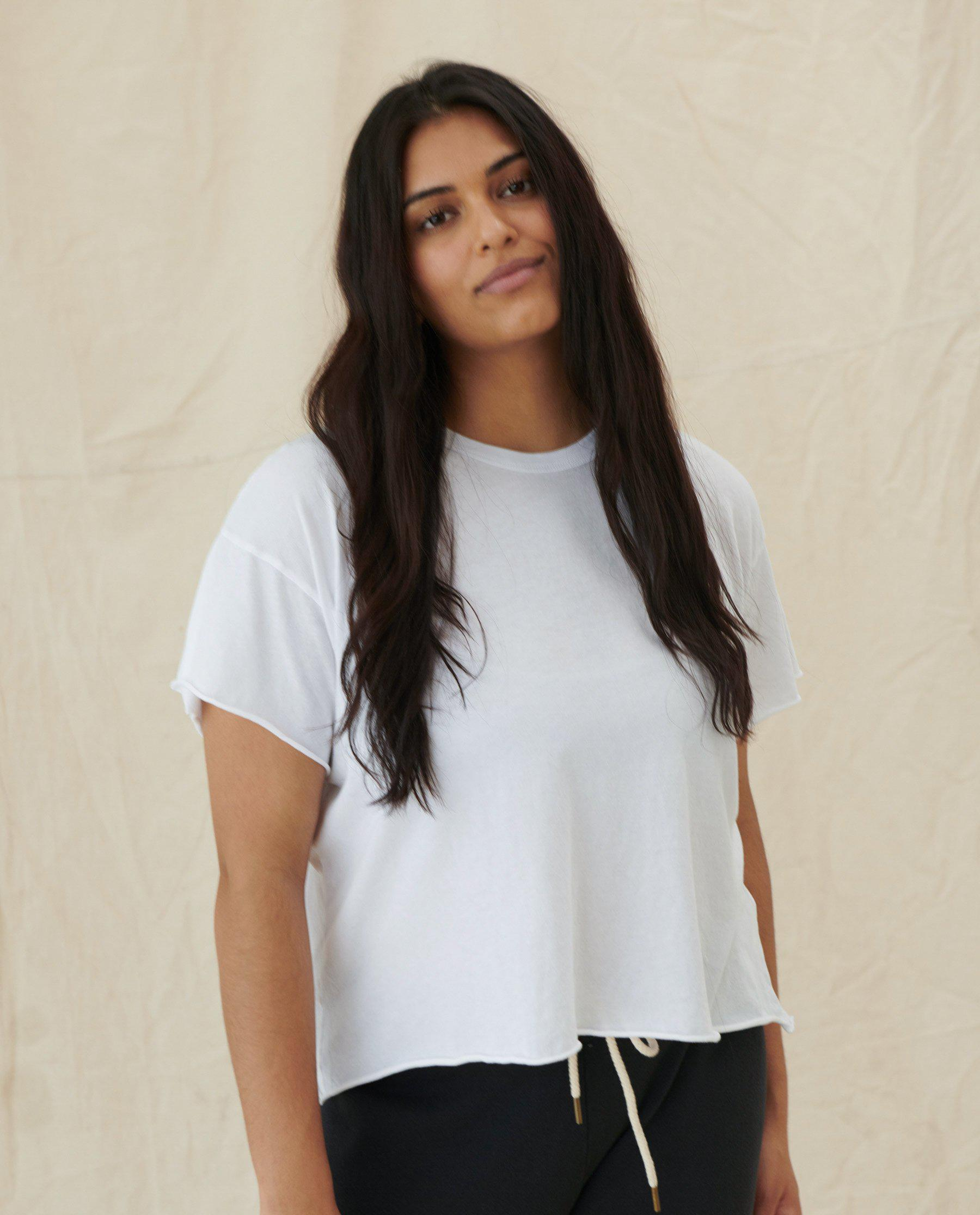 The Crop Tee. Solid -- TRUE WHITE