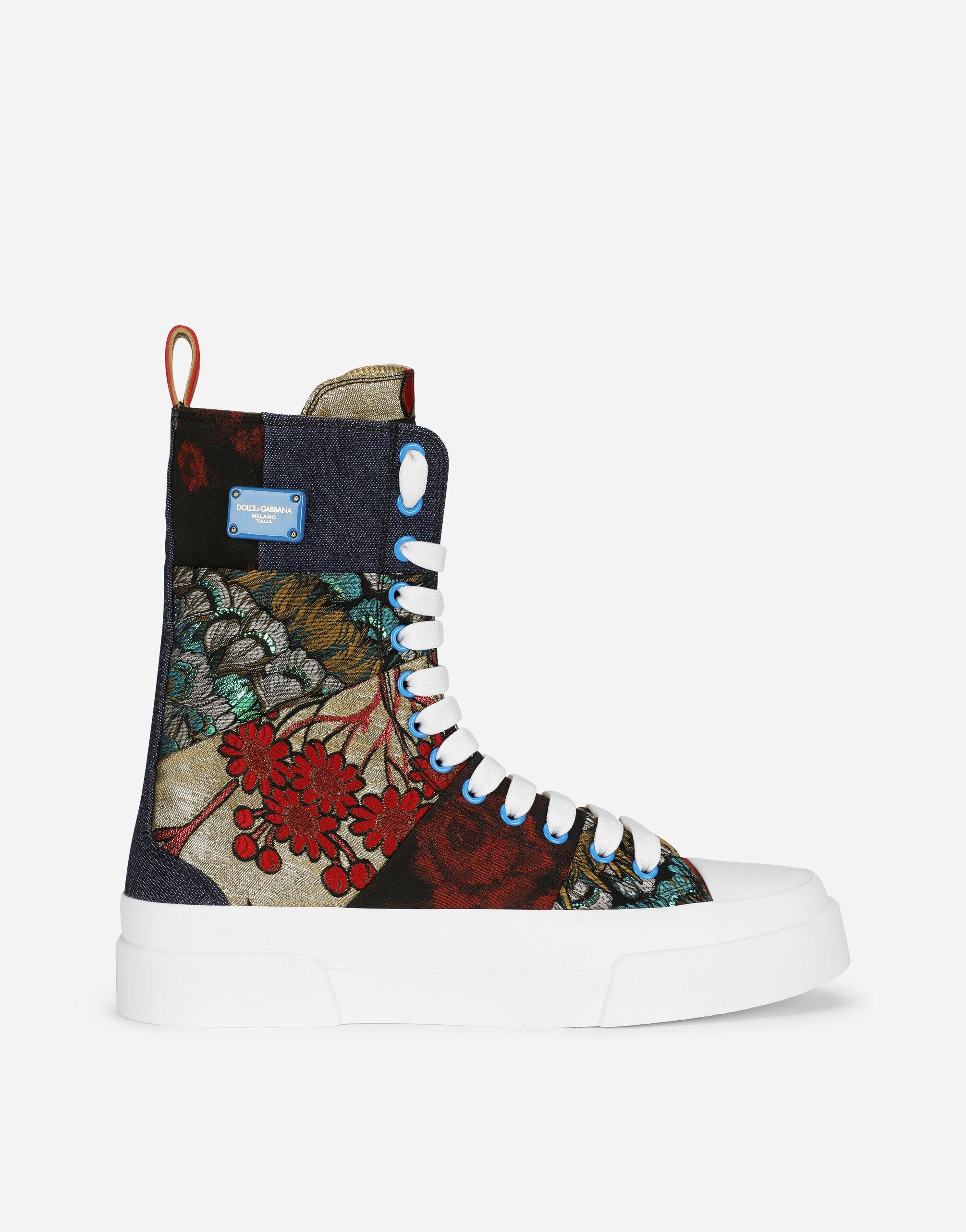 Patchwork fabric Portofino light high-top sneakers with logo plate 0